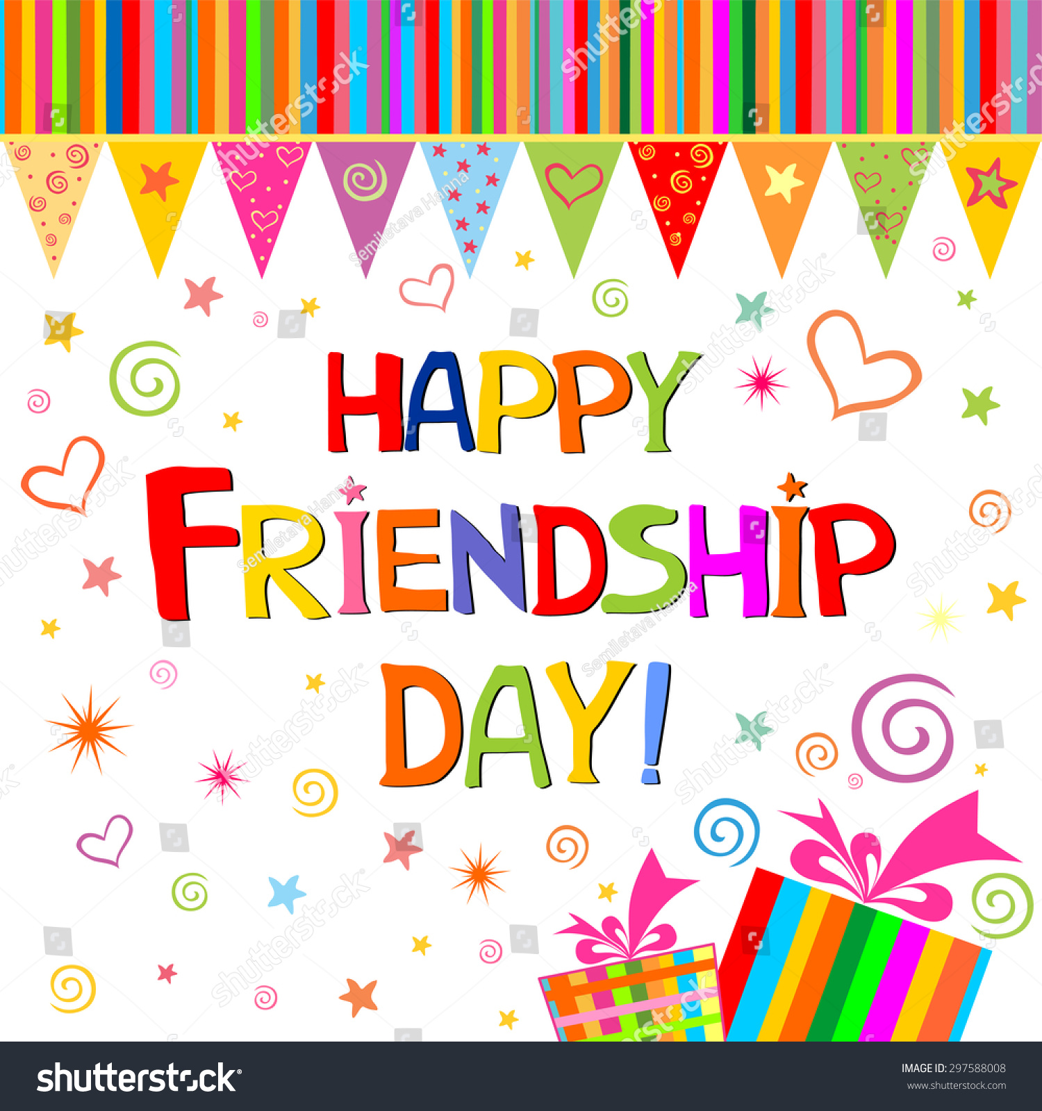 Happy Friendship Day Greeting Card Vector Stock Vector Royalty Free