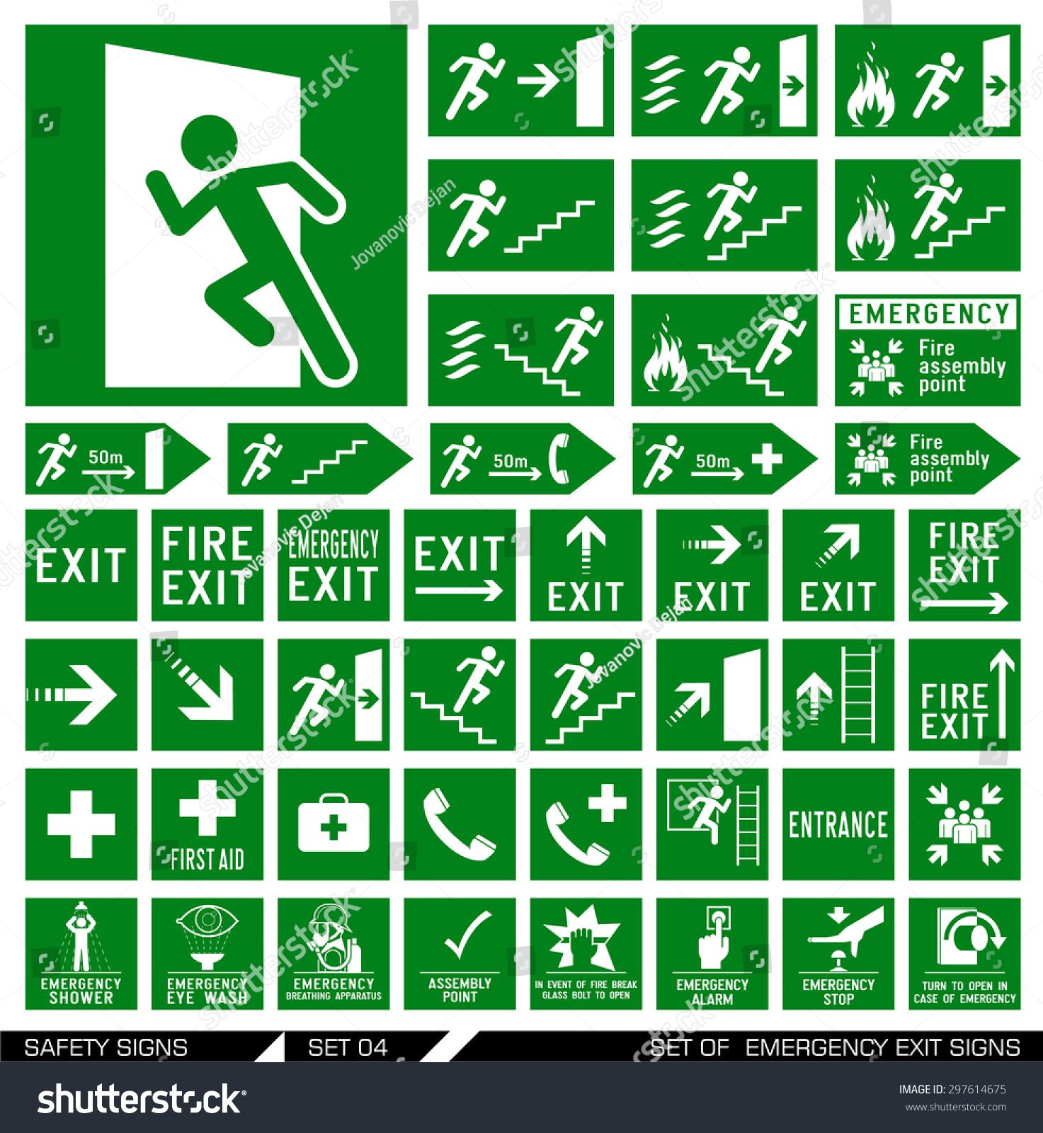 set safety signs exit signs set のベクター画像素材 ロイヤリティ