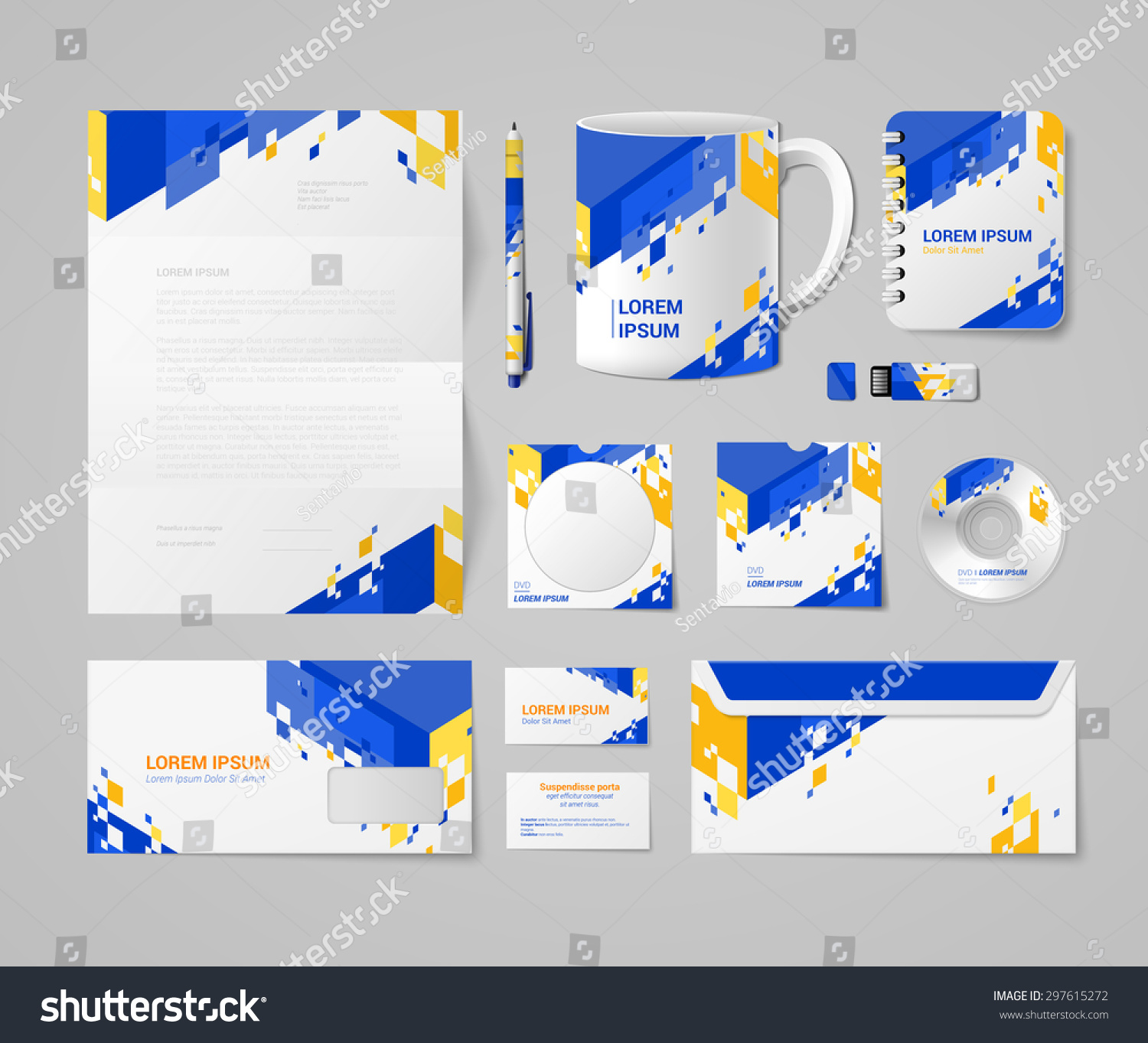 modern corporate identity mockup template blue stock vector