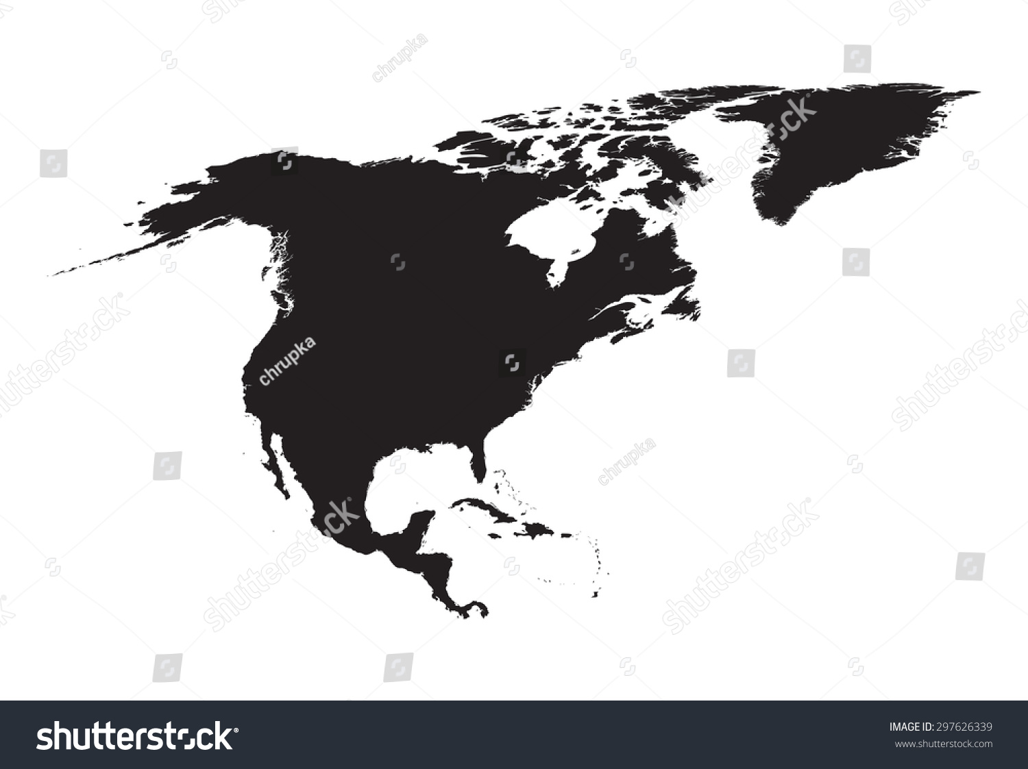 Black White Map North America Stock Vector Shutterstock - North america map black and white