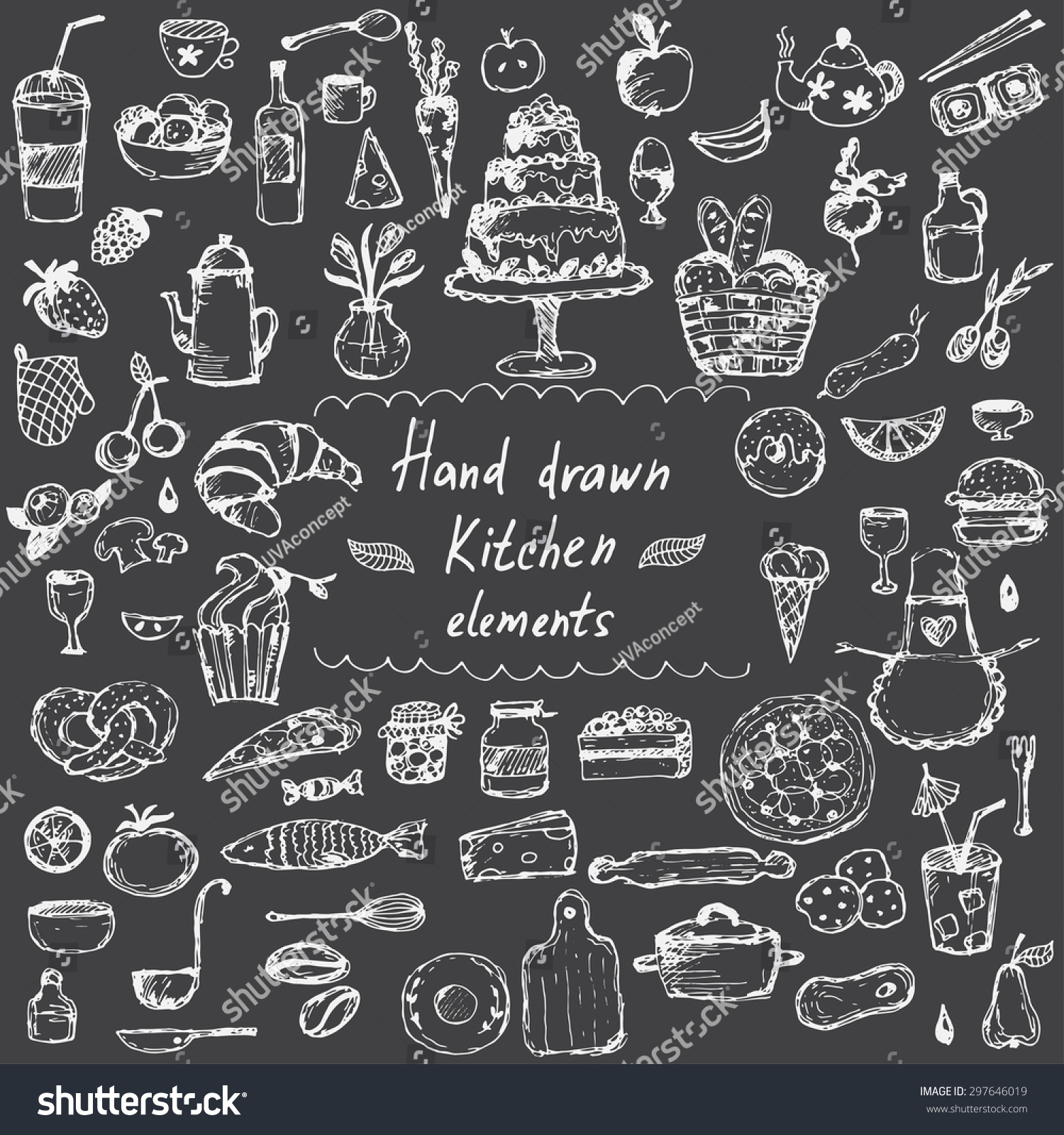Set Hand Drawn Design Elements Kitchen Stock Vector 297646019 Shutterstock