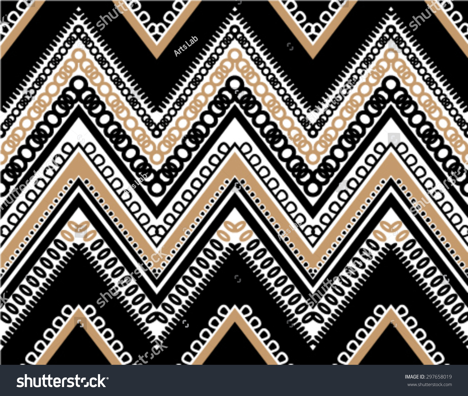 Black White Tan Textured ZigZag Chevron Seamless Pattern
