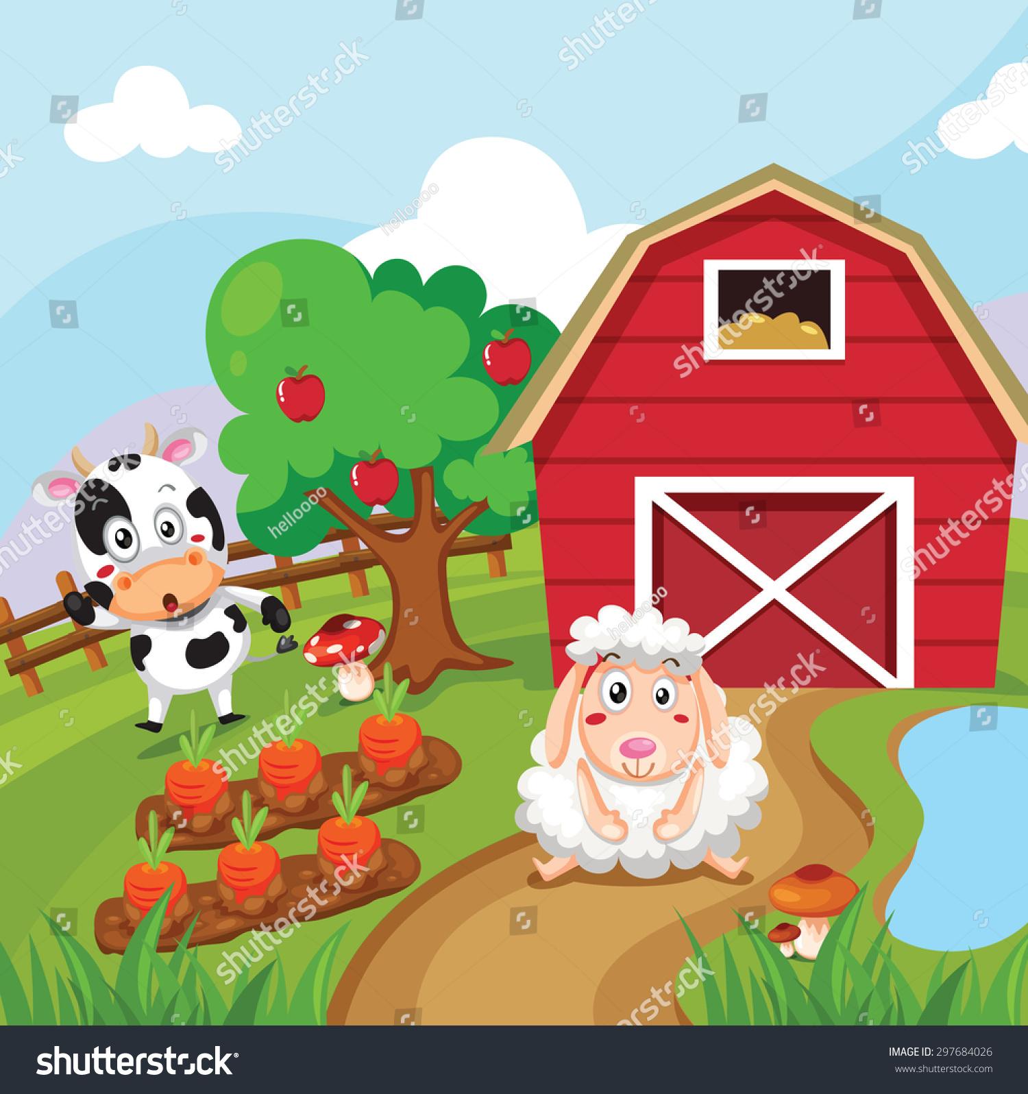 Farm Background Animals Stock Vector 297684026