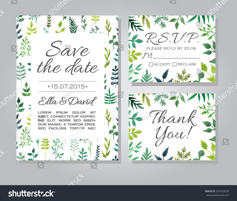 Vector Rustic Wedding Invitation Card Set Image Vectorielle De Stock