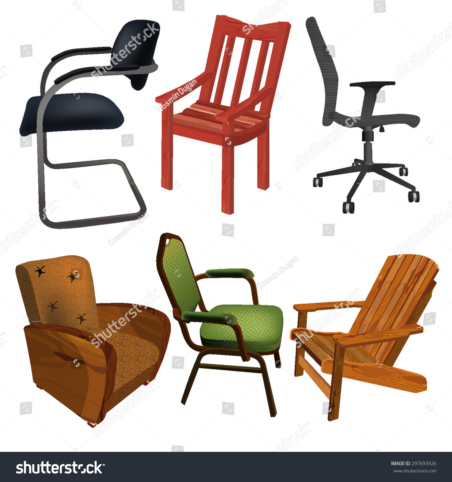 Different Chairs Stock Vector 297693926 - Shutterstock