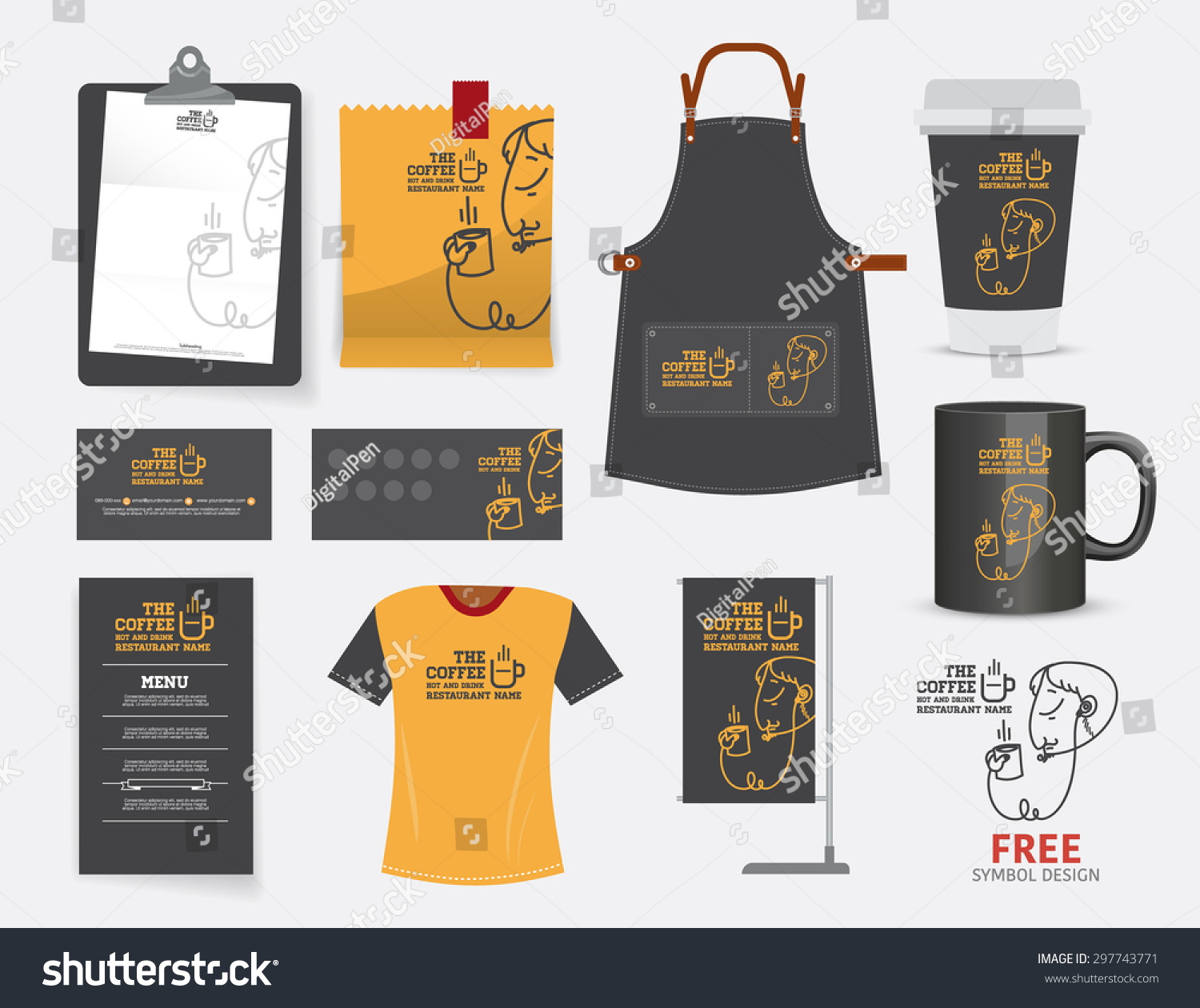 Vector coffee cafe restaurant set tshirt stock