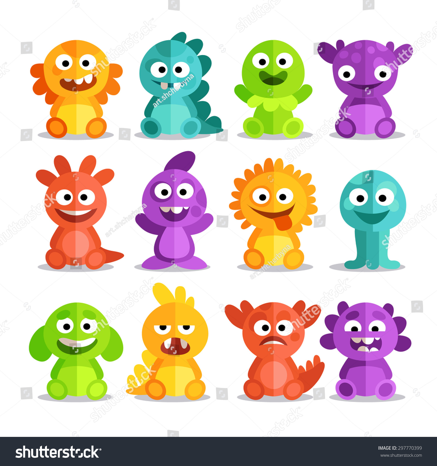 Set Cartoon Monsters Flat Style Colorful Stock Vector 297770399 ...