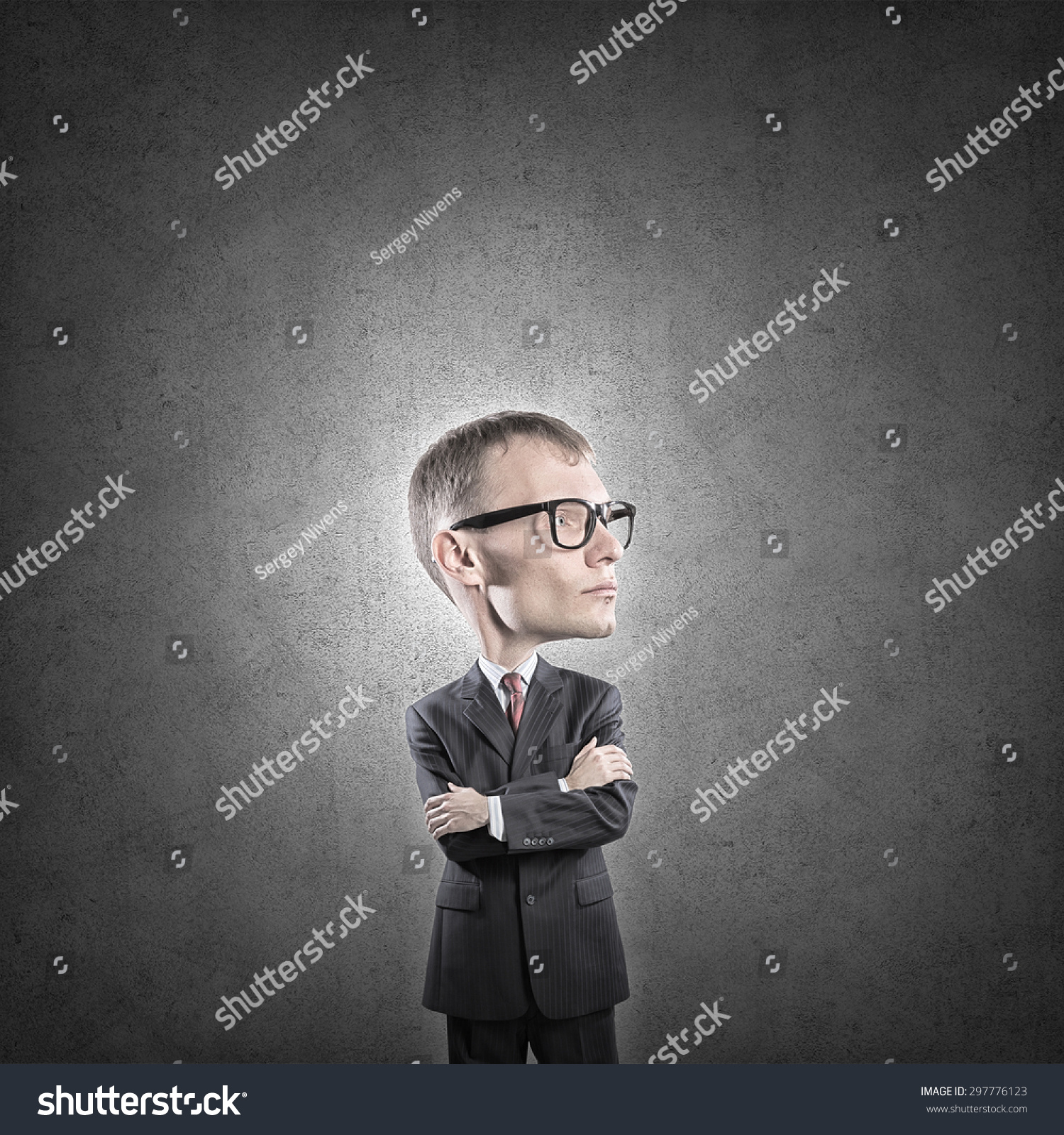 33ccb6efd1 Young Funny Man Glasses Big Head Stock Photo (Edit Now) 297776123 ...