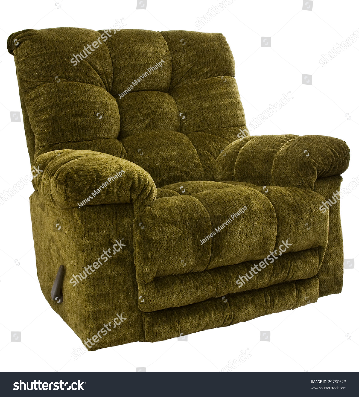 Big And Tall Sage Green Rocker Recliner Chair Stock Photo