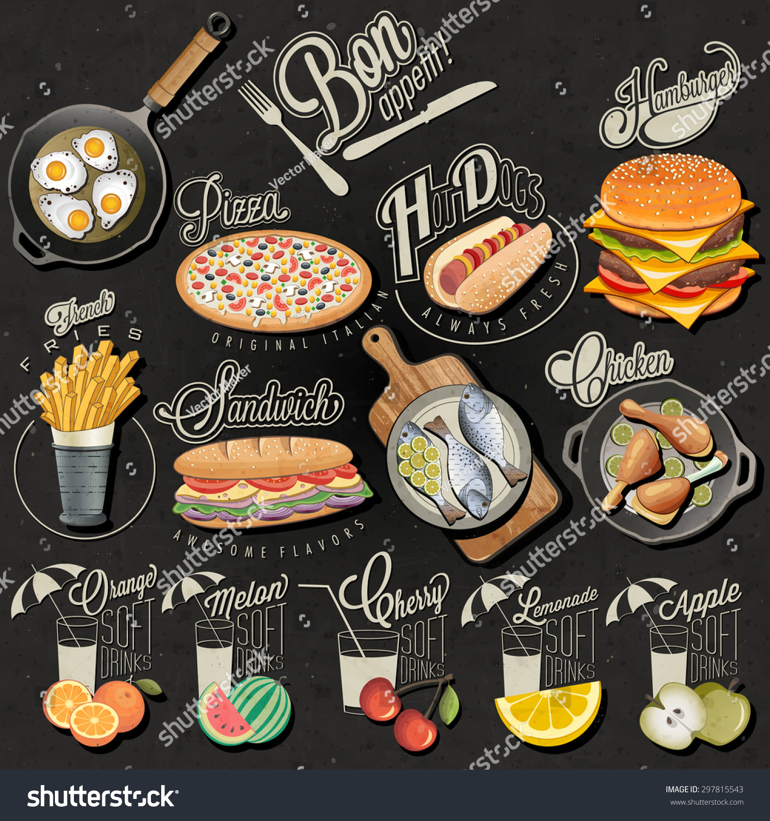 Retro Vintage Style Fast Food Drinks Stock Vector Royalty Free