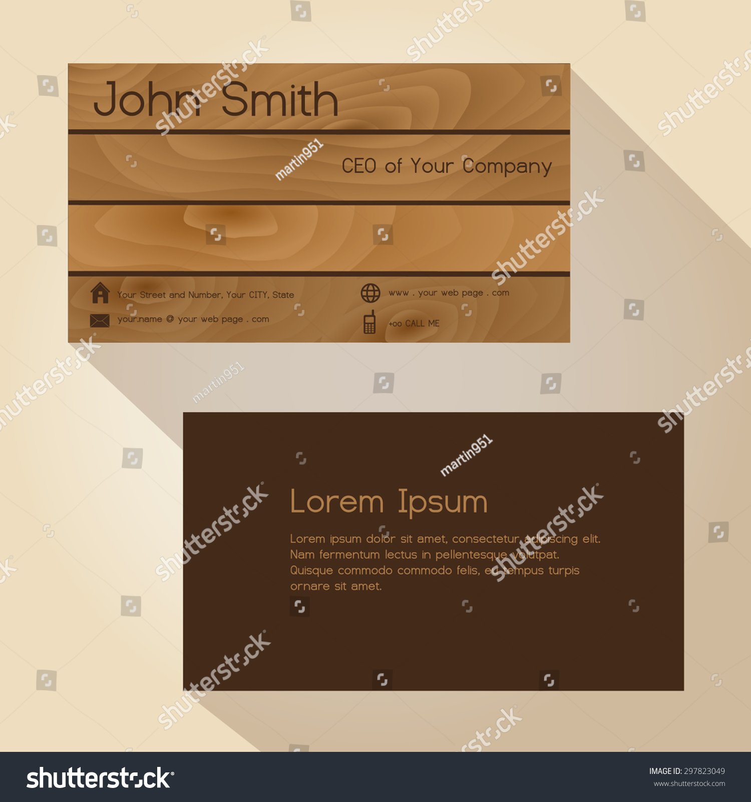 brown wood simple business card design stock vector