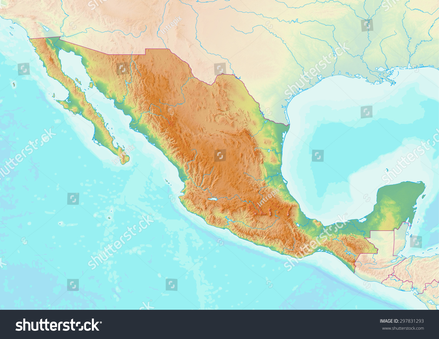 topographic map of mexico with shaded relief and elevation colors elements of this image furnished