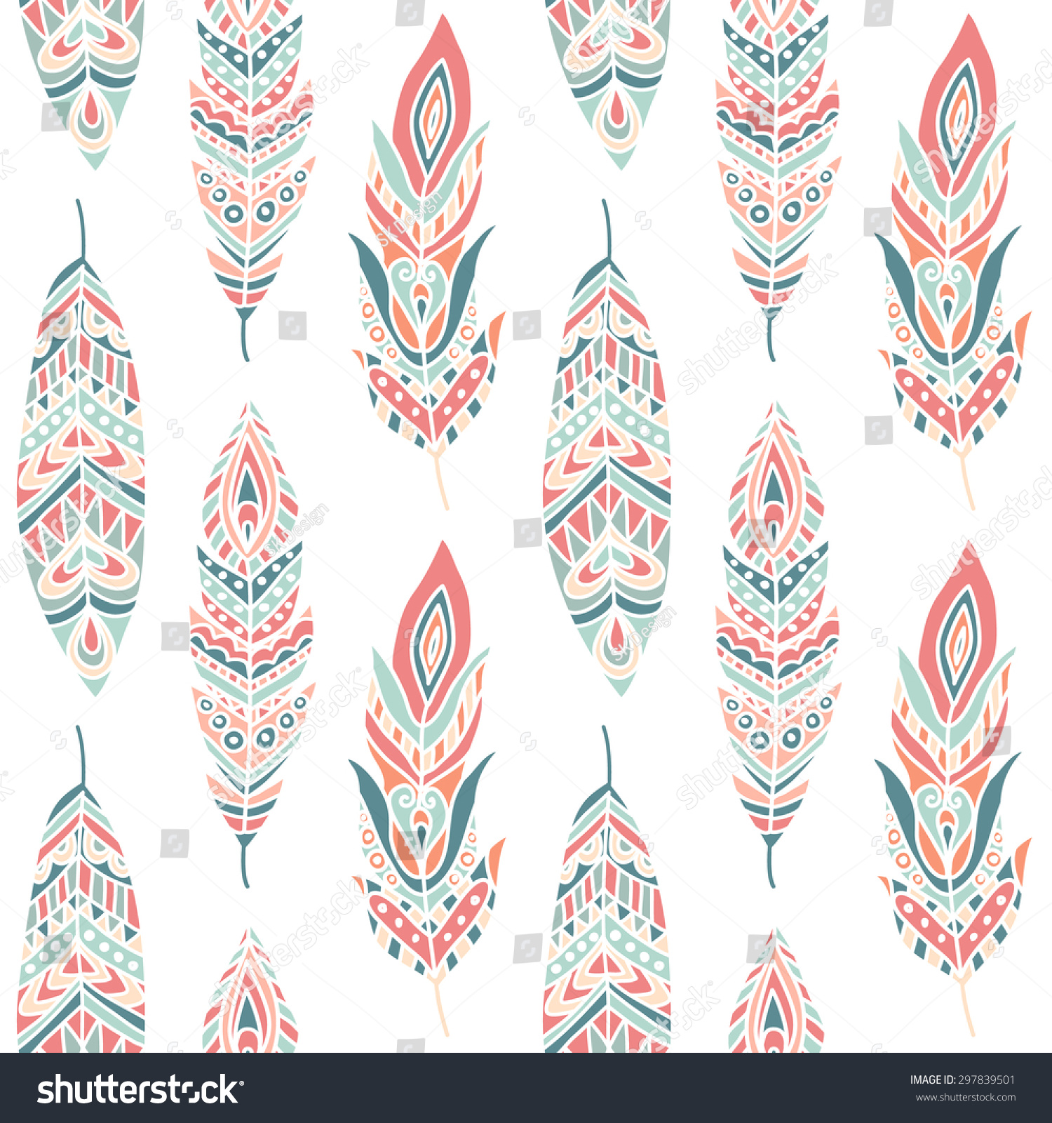 Seamless Pattern With Ethnic Feathers Hand Drawn Vector Illustration Can Be Used For Wallpaper