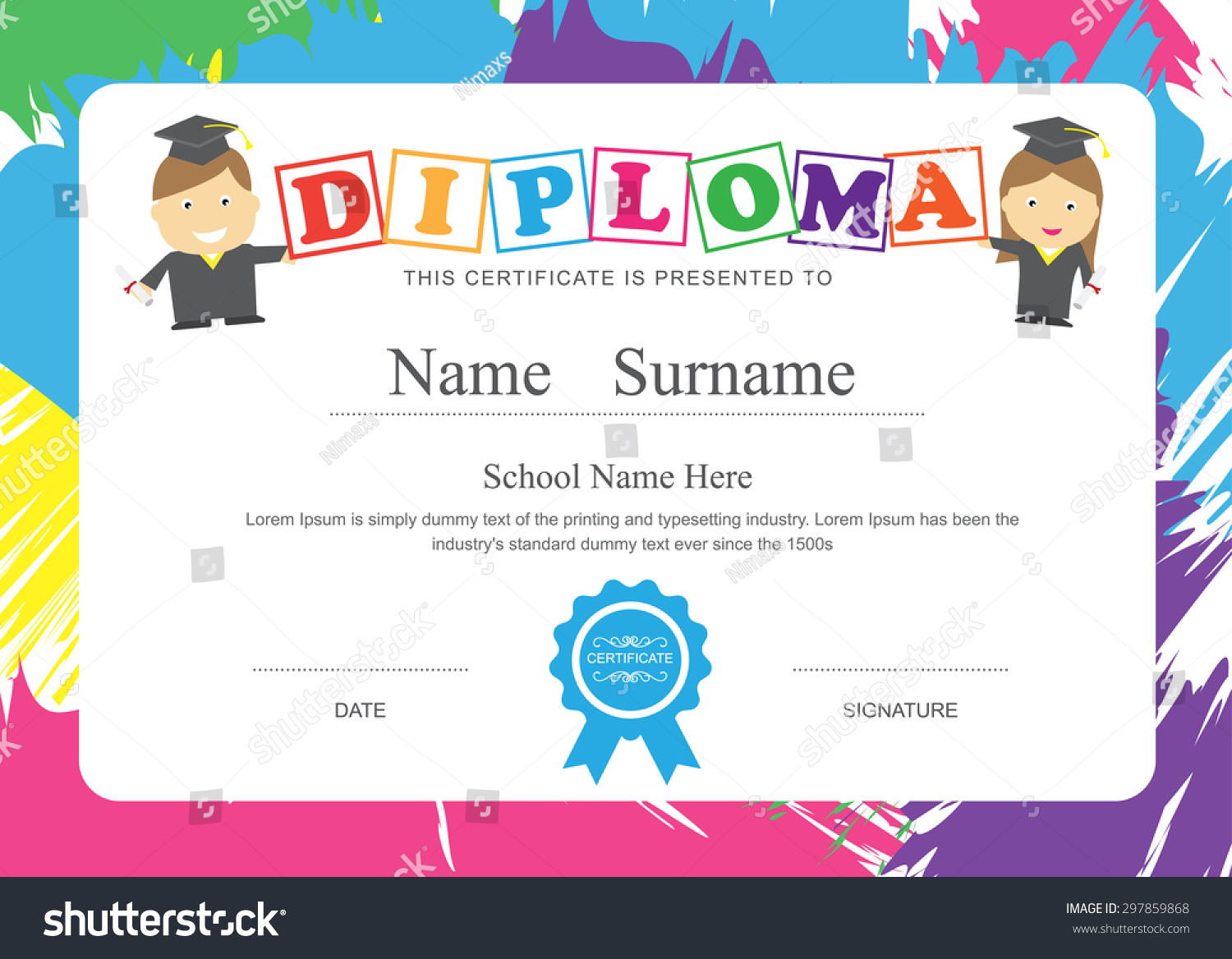 Kids diploma preschool certificate elementary school stock vector kids diploma preschool certificate elementary school design template background xflitez Images