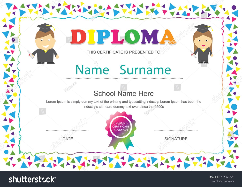 Preschool Kids Diploma Certificate Elementary School Stock