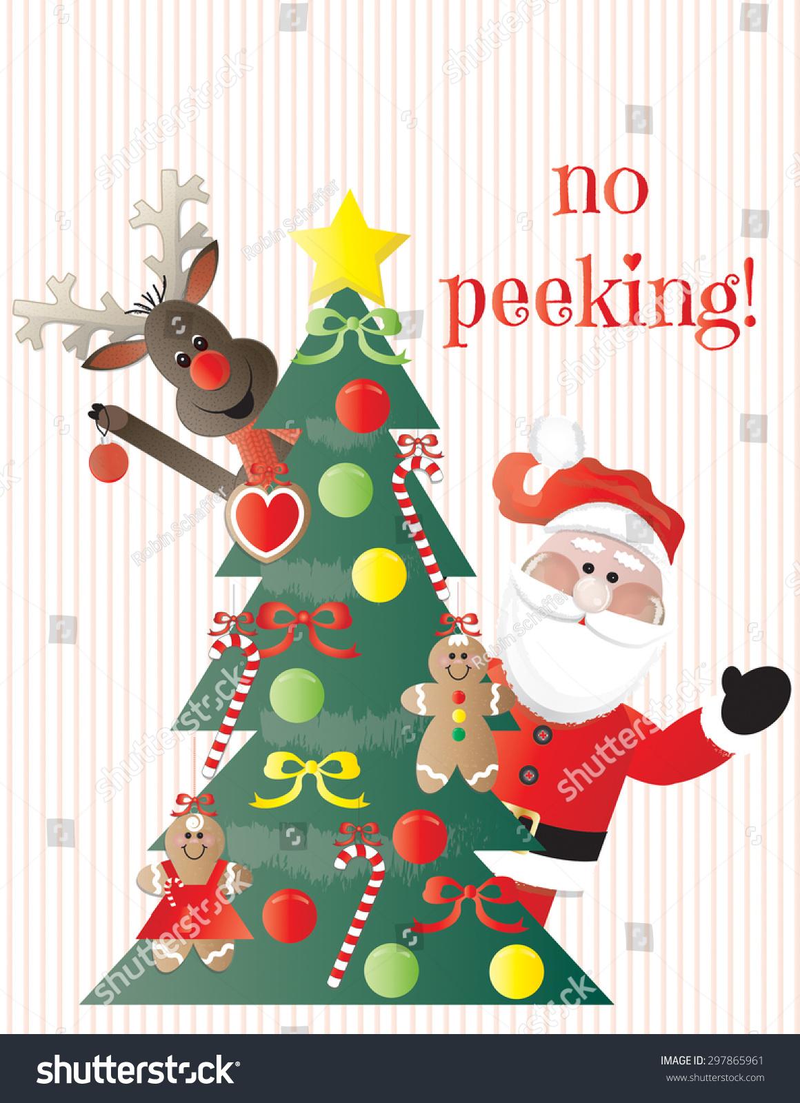 No Peeking Santa Reindeer Looking Around Stock Vector (Royalty Free ...