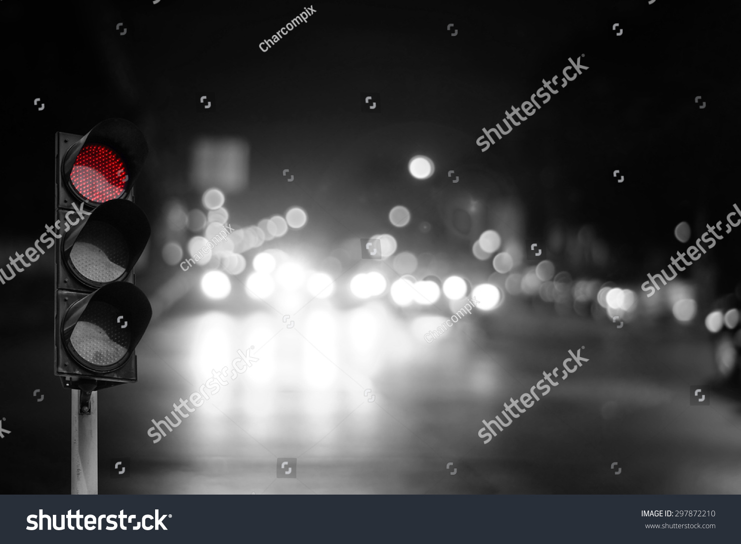 Red Traffic Light On Road Night Stock Photo 297872210 - Shutterstock for Traffic Light On Road At Night  239wja