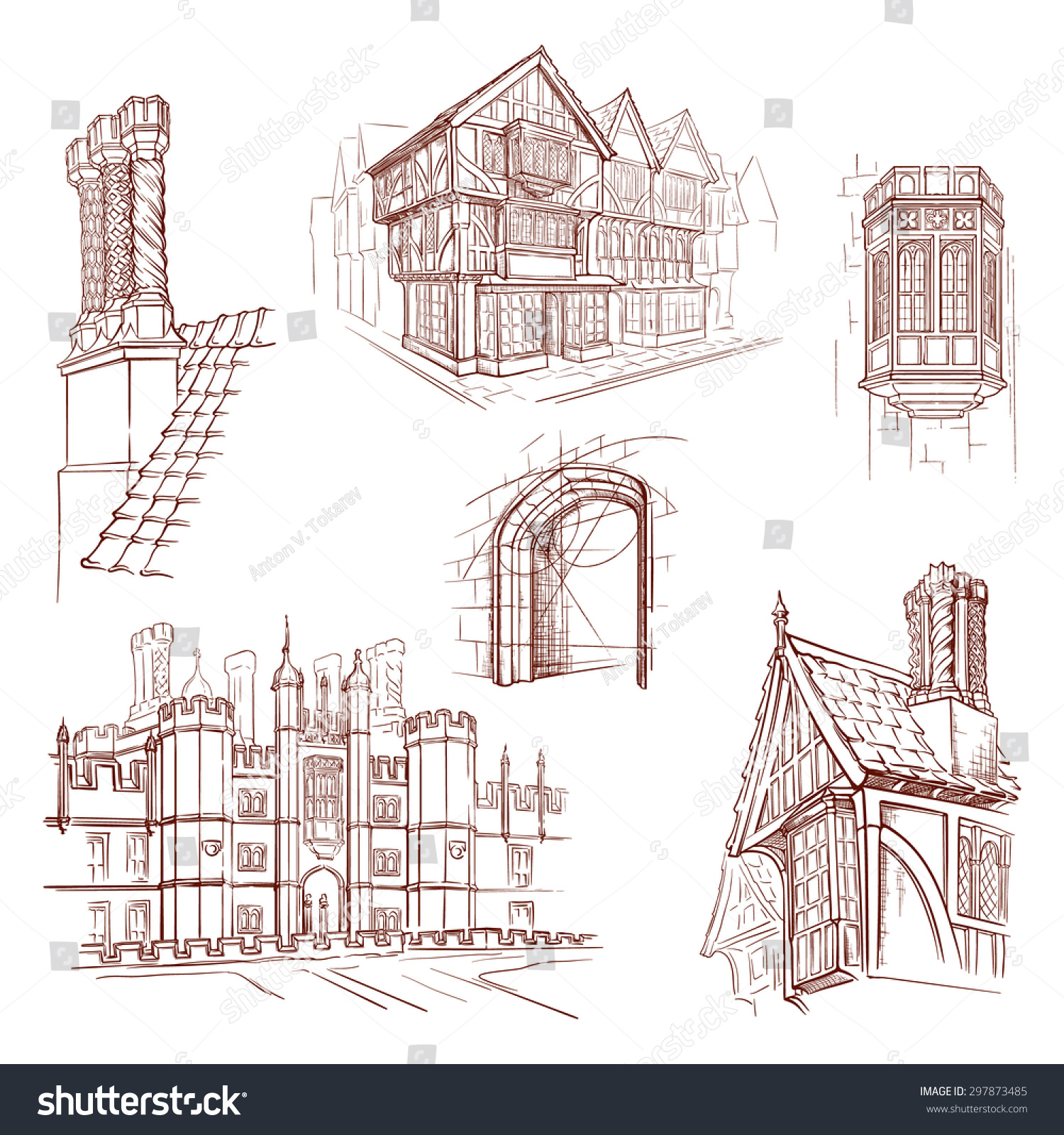 Architectural Drawing Set history british architectural styles tudor architecture stock