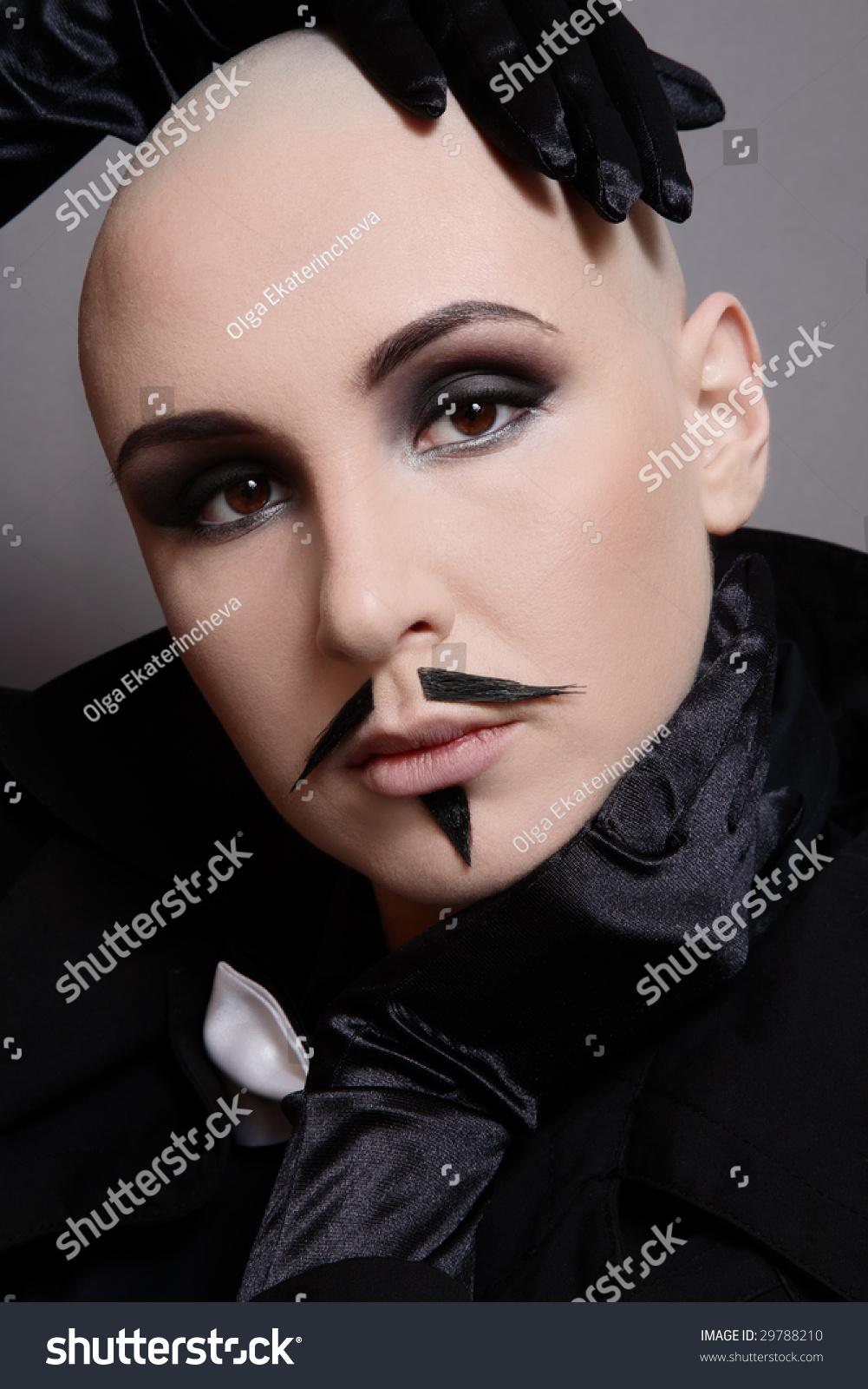 Portrait Skinhead Girl Black Clothes False Stock Photo Edit Now