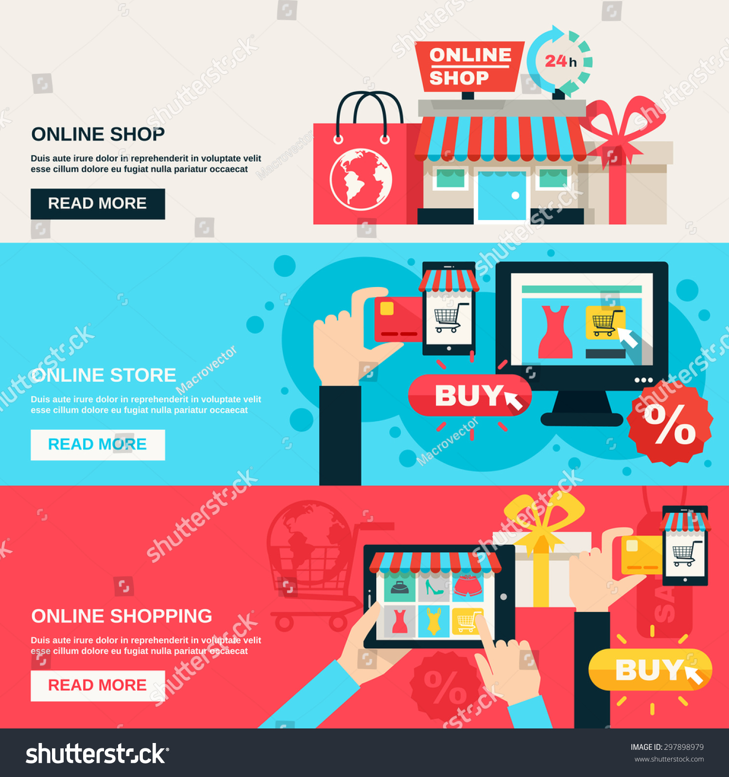 Color on online - Internet Shopping Web Market And Online Store Flat Color Horizontal Banner Set Isolated Vector Illustration