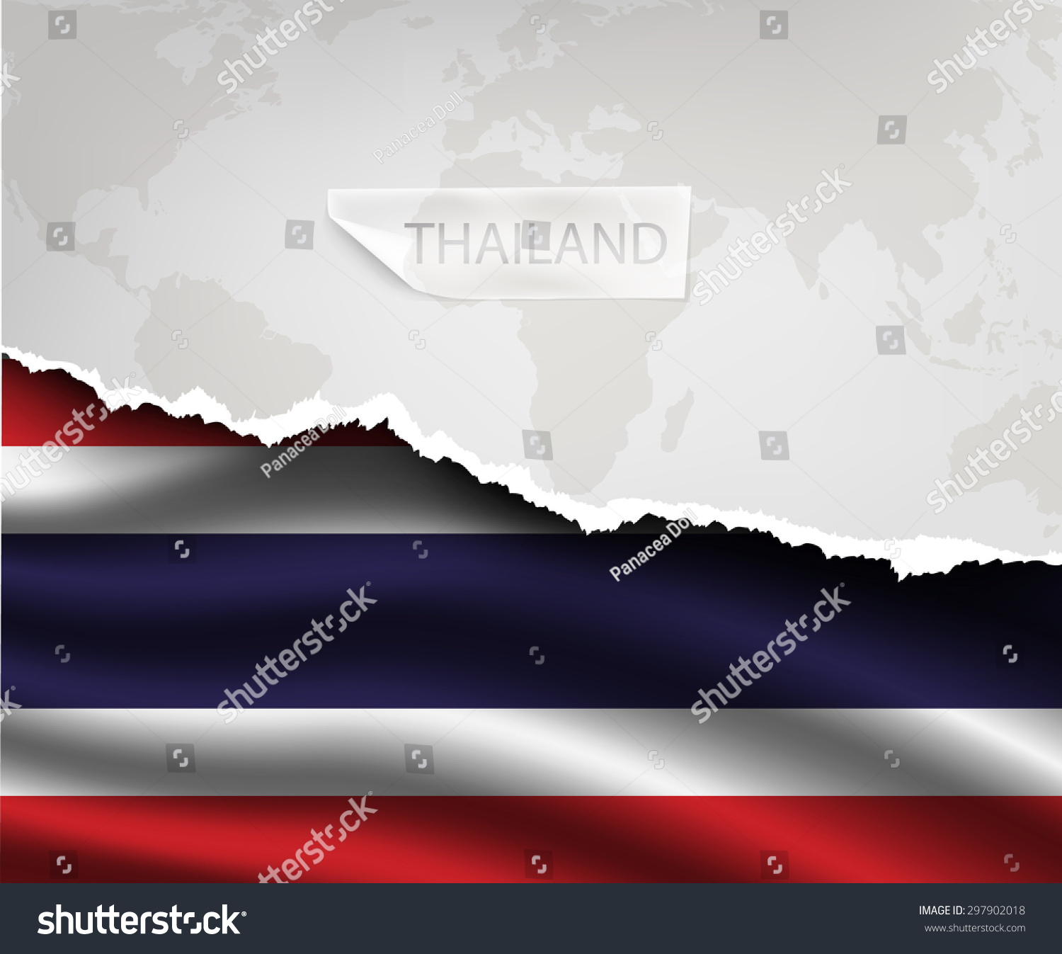 Torn Paper Hole Shadows THAILAND Flag Stock Vector (Royalty Free