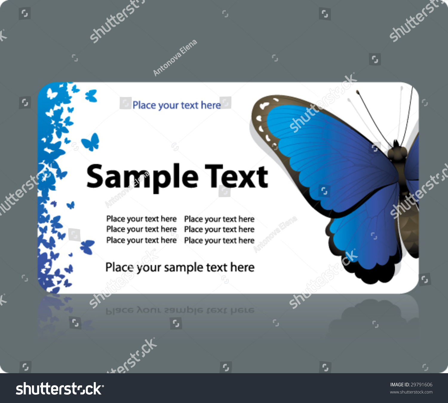 horizontal business card template butterfly elements stock vector