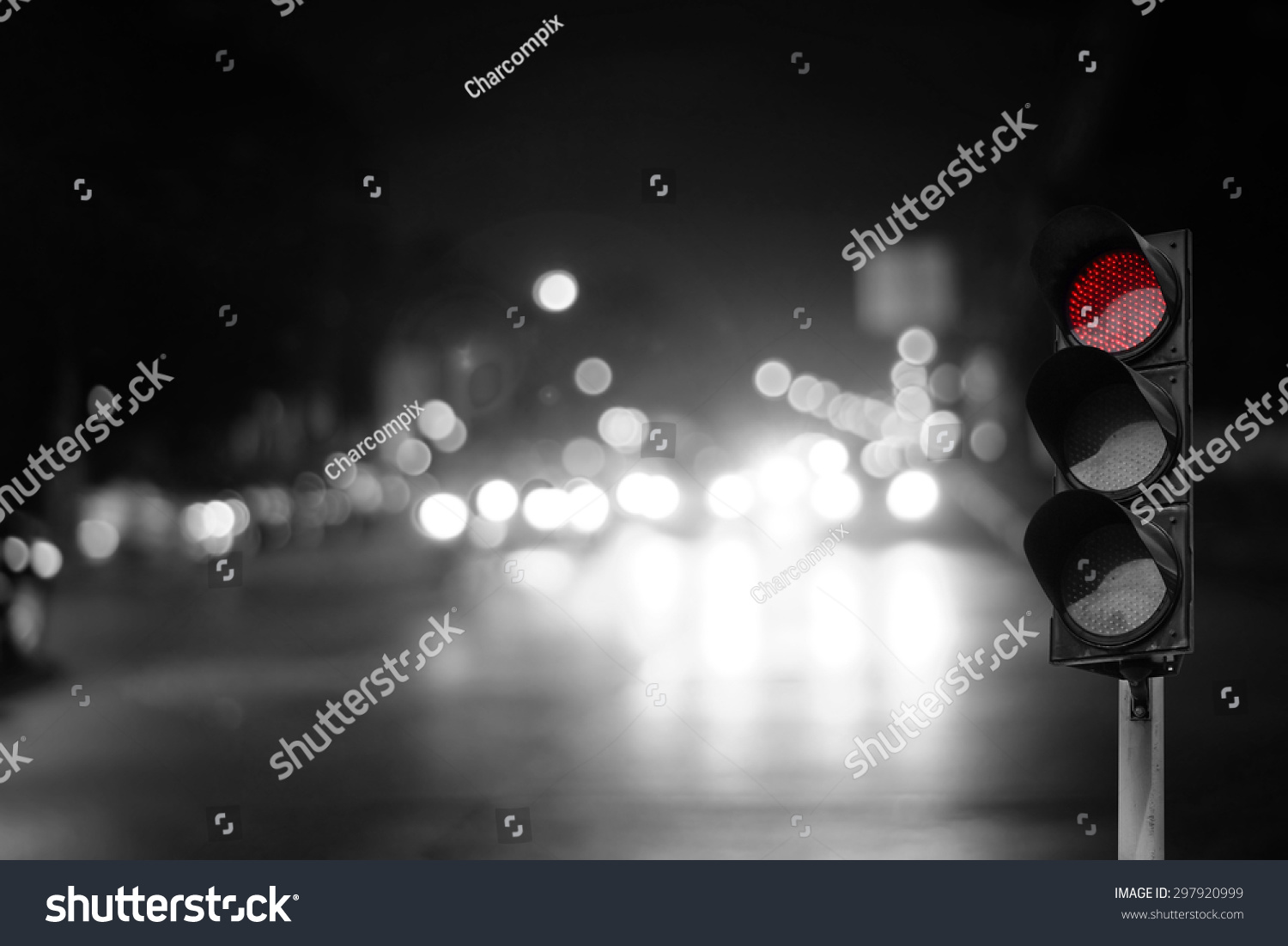 Red Traffic Light On Road Night Stock Photo 297920999 - Shutterstock for Traffic Light On Road At Night  303mzq