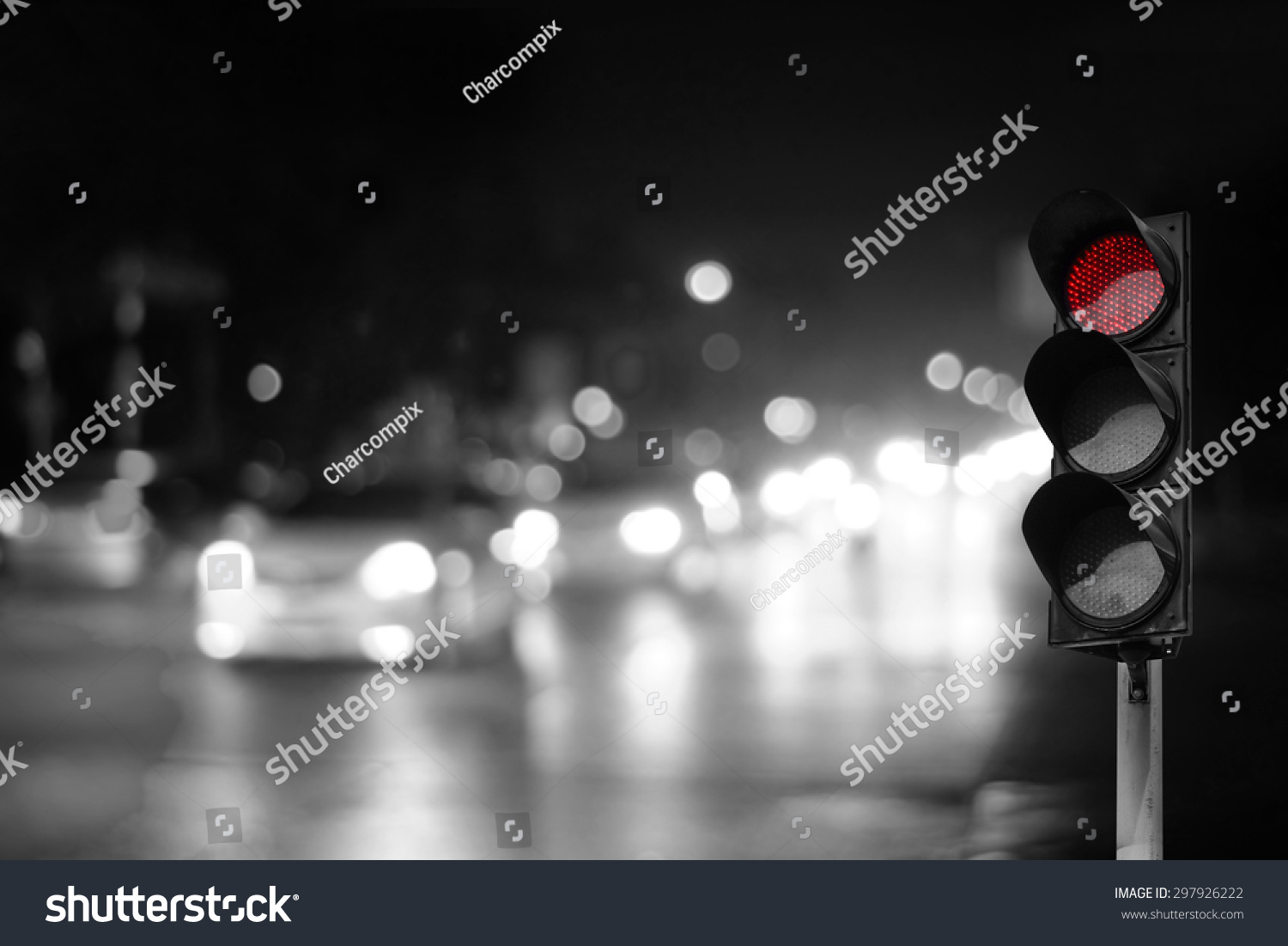 Red Traffic Light On Road Night Stock Photo 297926222 - Shutterstock for Traffic Light On Road At Night  45jwn