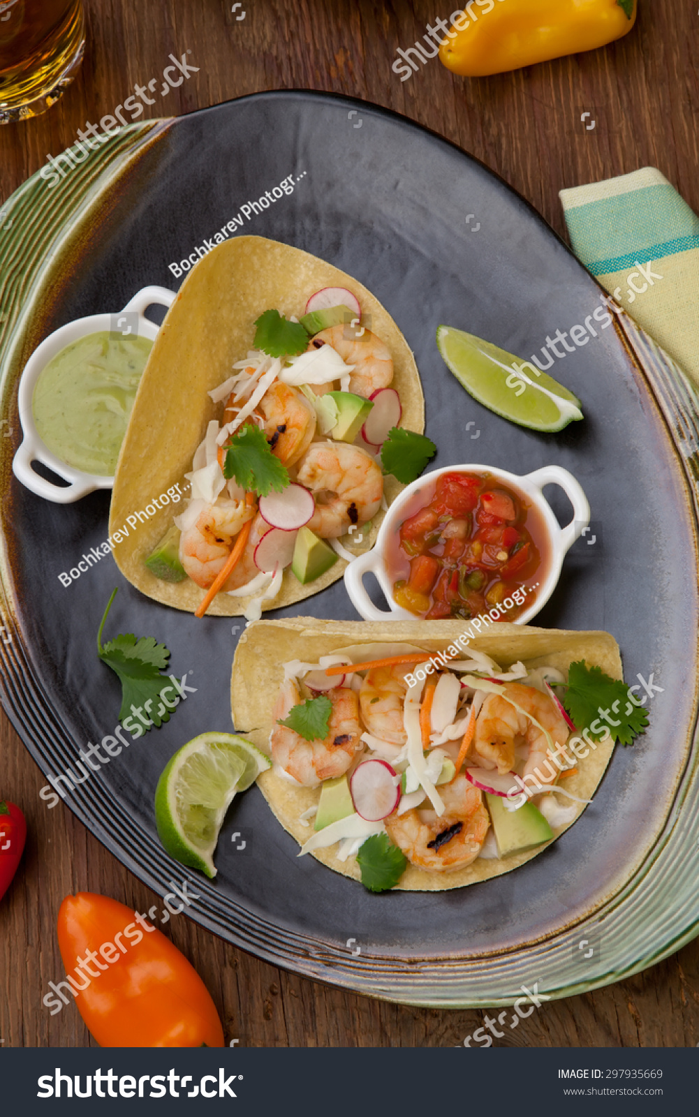 Two Shrimp Tacos Salsa Guacamole Beer Stock Photo Edit Now 297935669