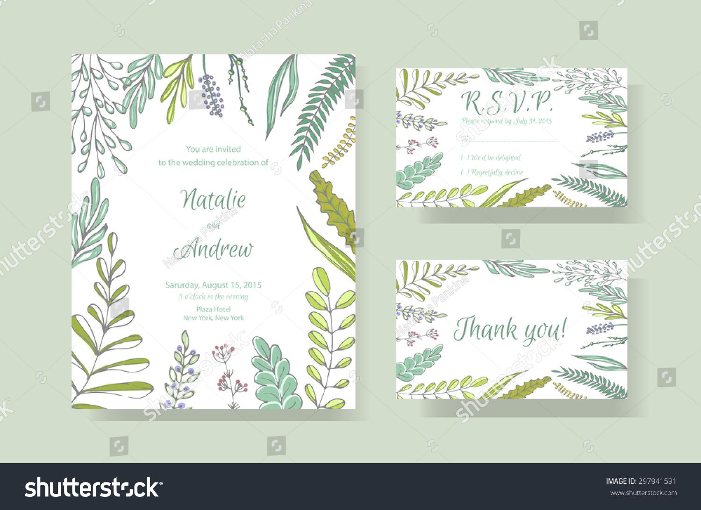 Gentle Vector Wedding Cards Template Wedding Vector – Thank You Card Template Wedding