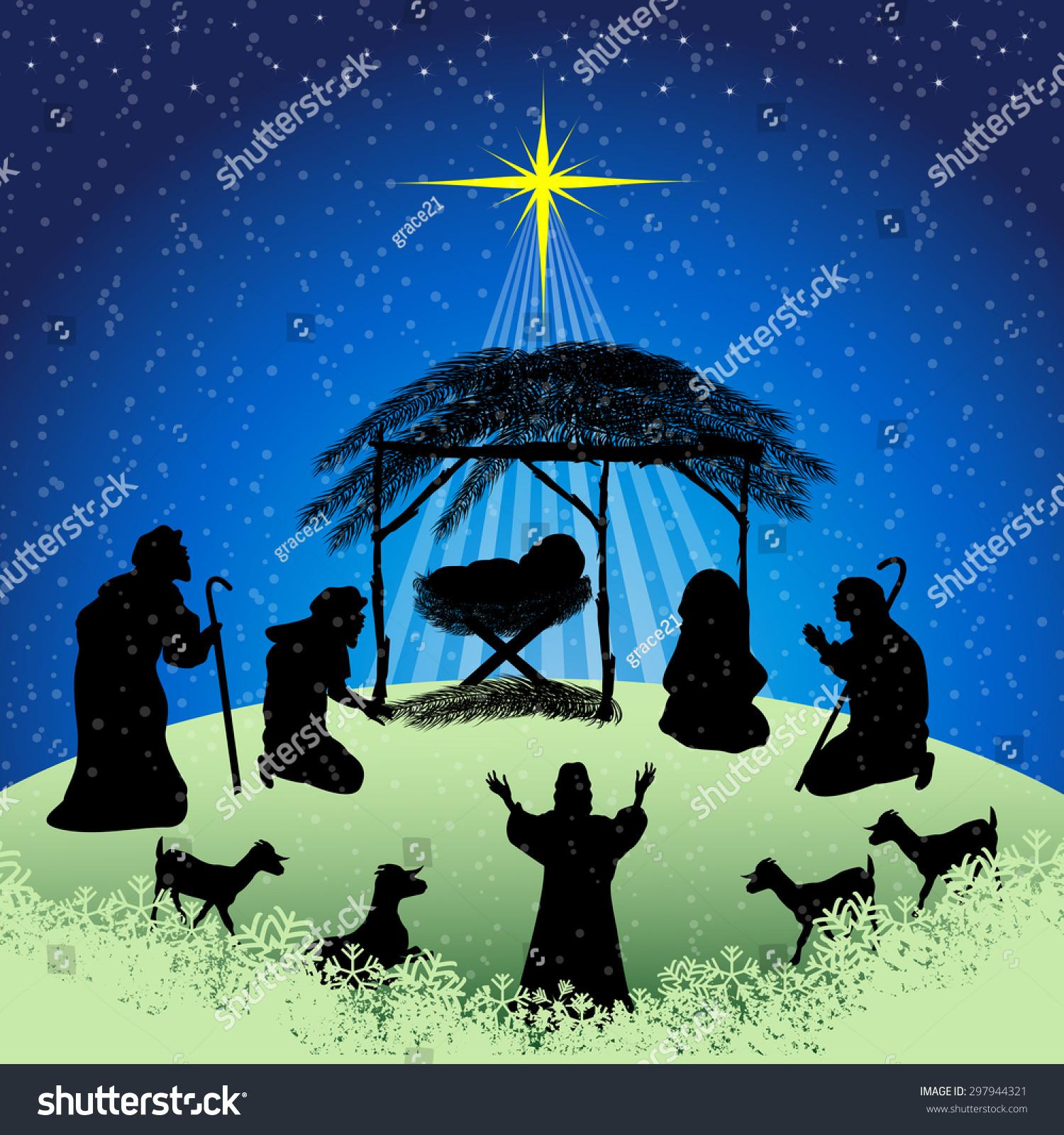 silhouettes christmas nativity scene joseph mary stock