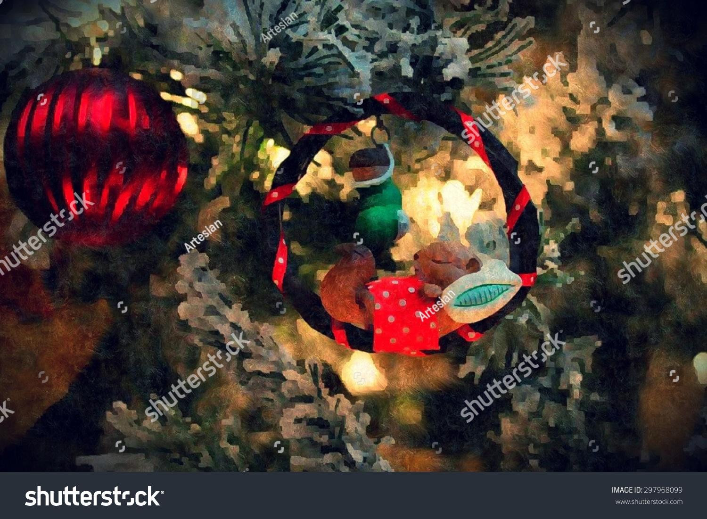 Sleeping Chipmunk Christmas Ornament Painted Texture Stock ...