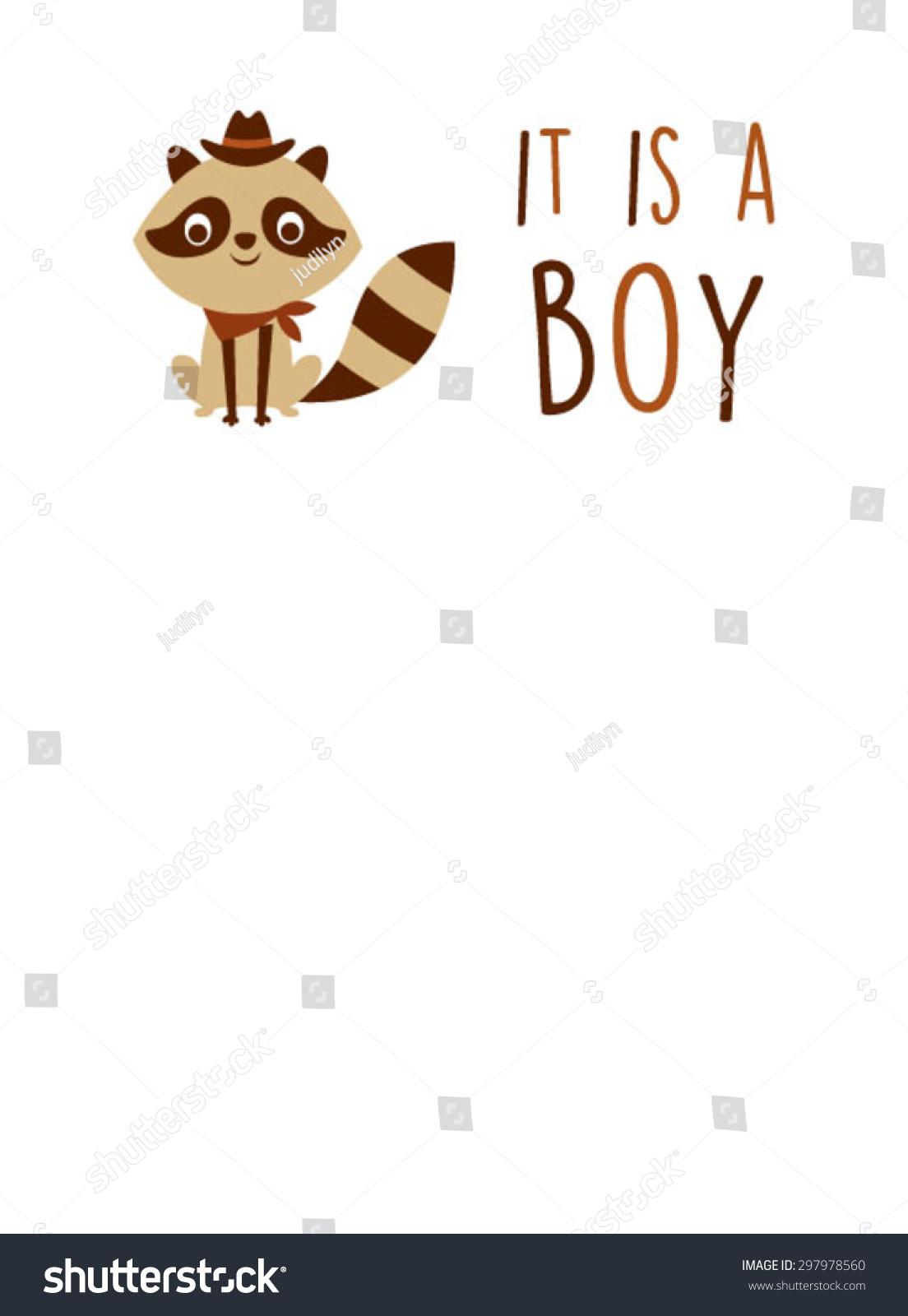 Cute Raccoon Baby Boy Announcement Card Vector 297978560 – Cute Baby Boy Announcements