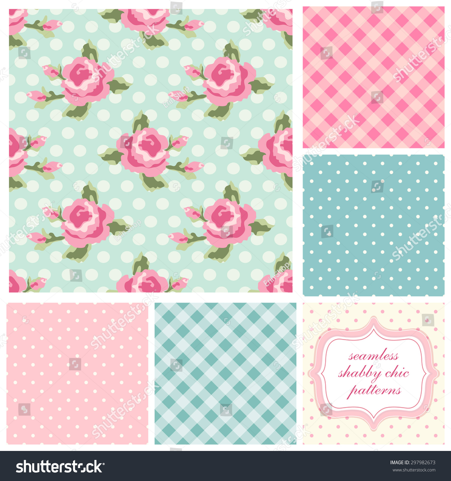 Set Of Cute Seamless Shabby Chic Patterns With Roses Polka Dot And
