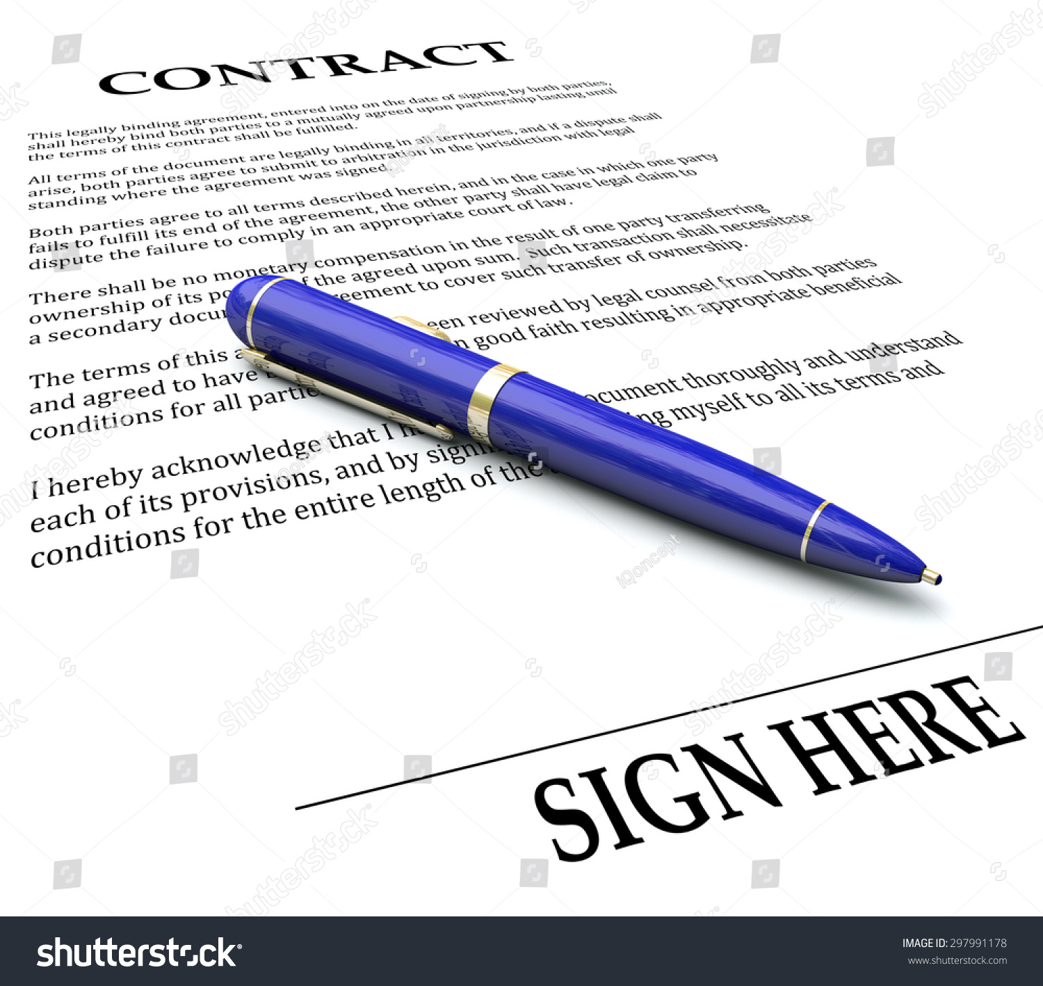 Contract And Pen With Sign Here Line To Illustrate Signing A Name Or  Signature On A