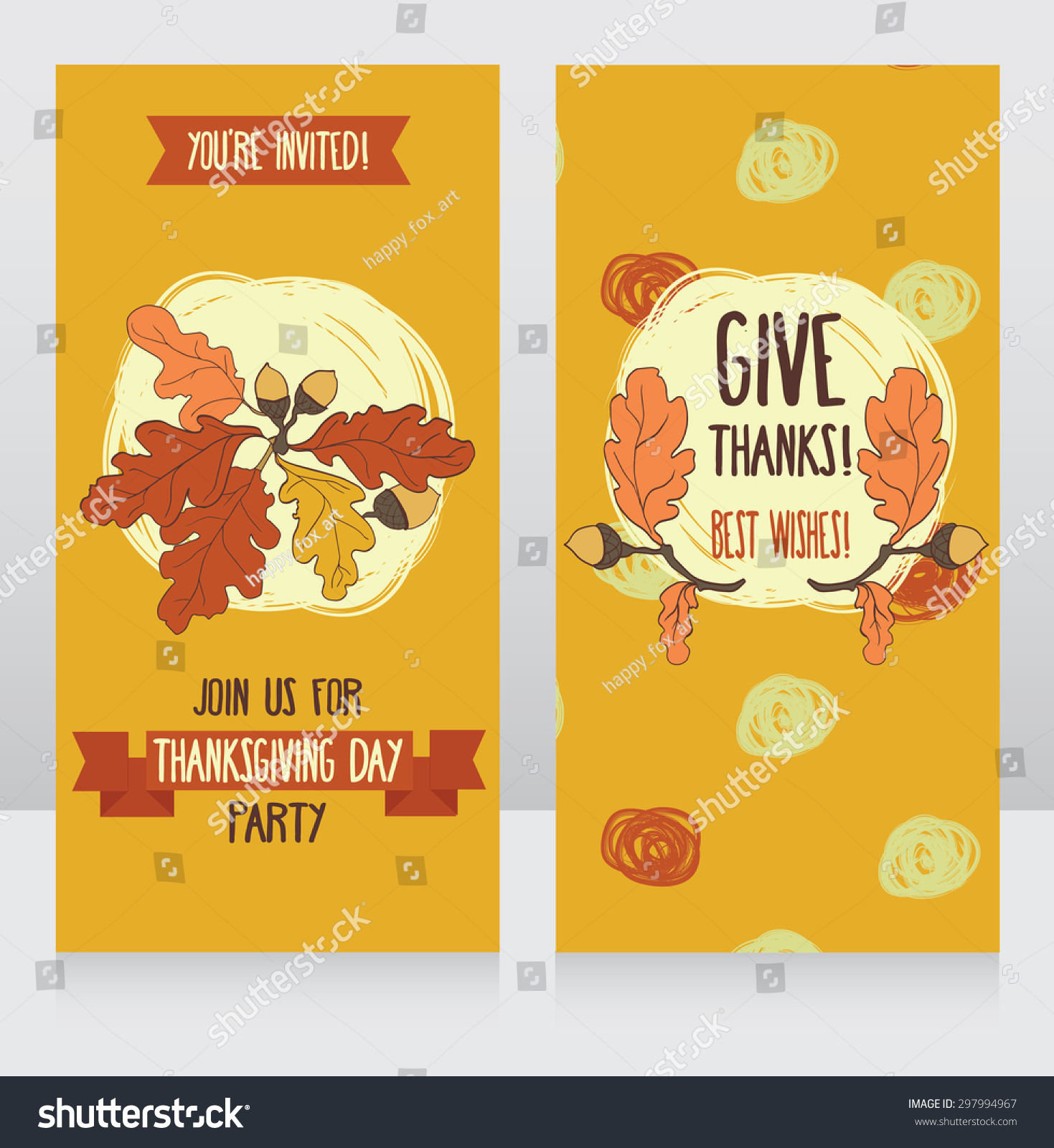 Greeting cards thanksgiving day cute party stock vector 297994967 greeting cards for thanksgiving day cute party invitations vector illustration kristyandbryce Images