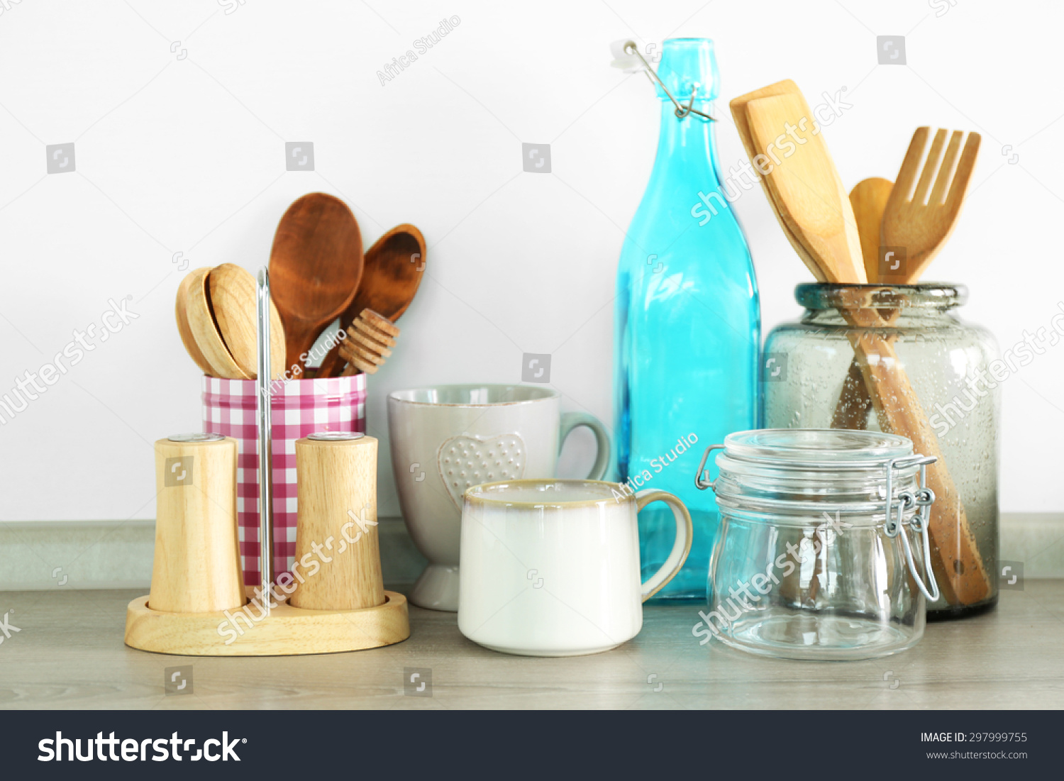 Composition with different utensils on wooden wooden table in ...