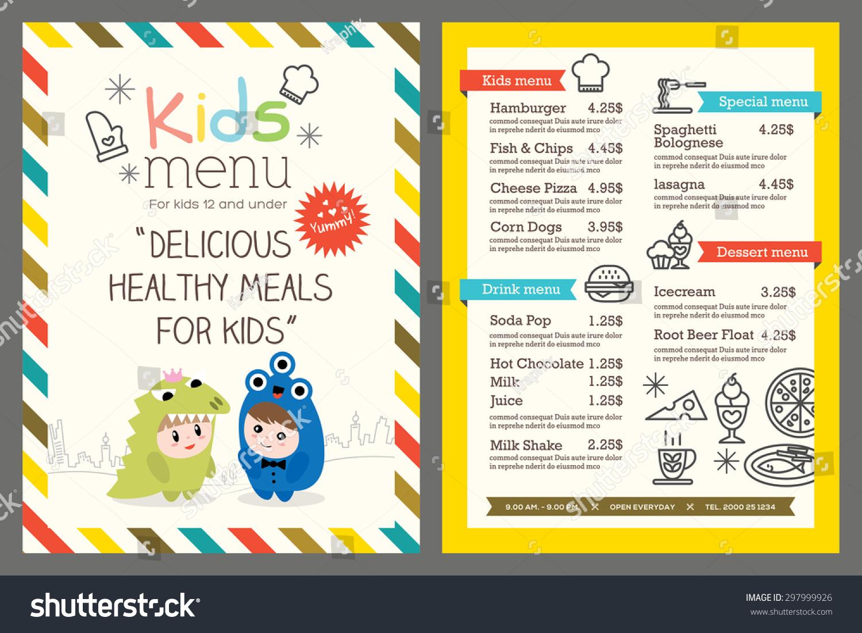 Cute Colorful Kids Meal Menu Vector Stock Vector 297999926 ...