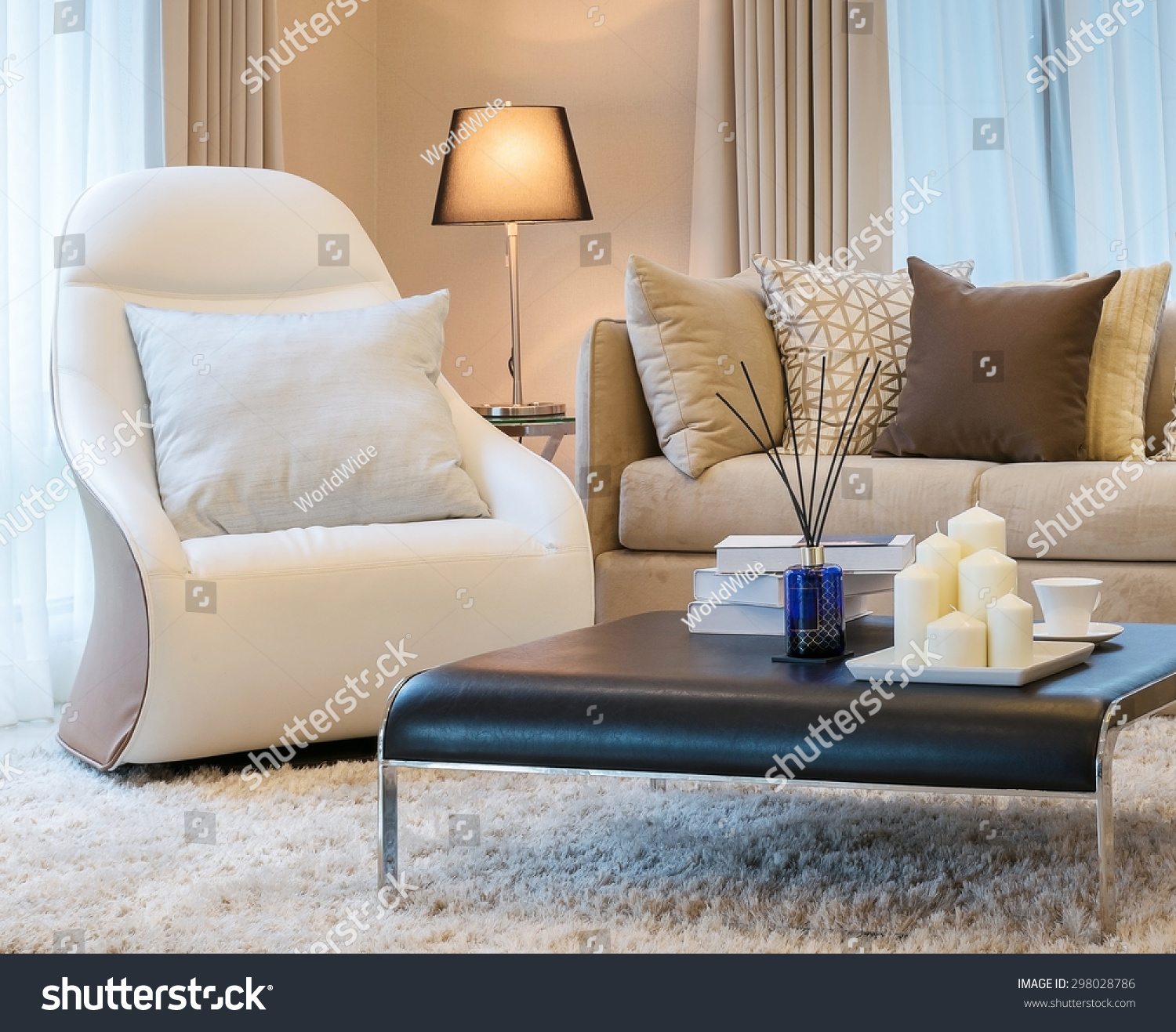 Modern Living Room Design Sofa Brown Stock Photo 298028786 Shutterstock