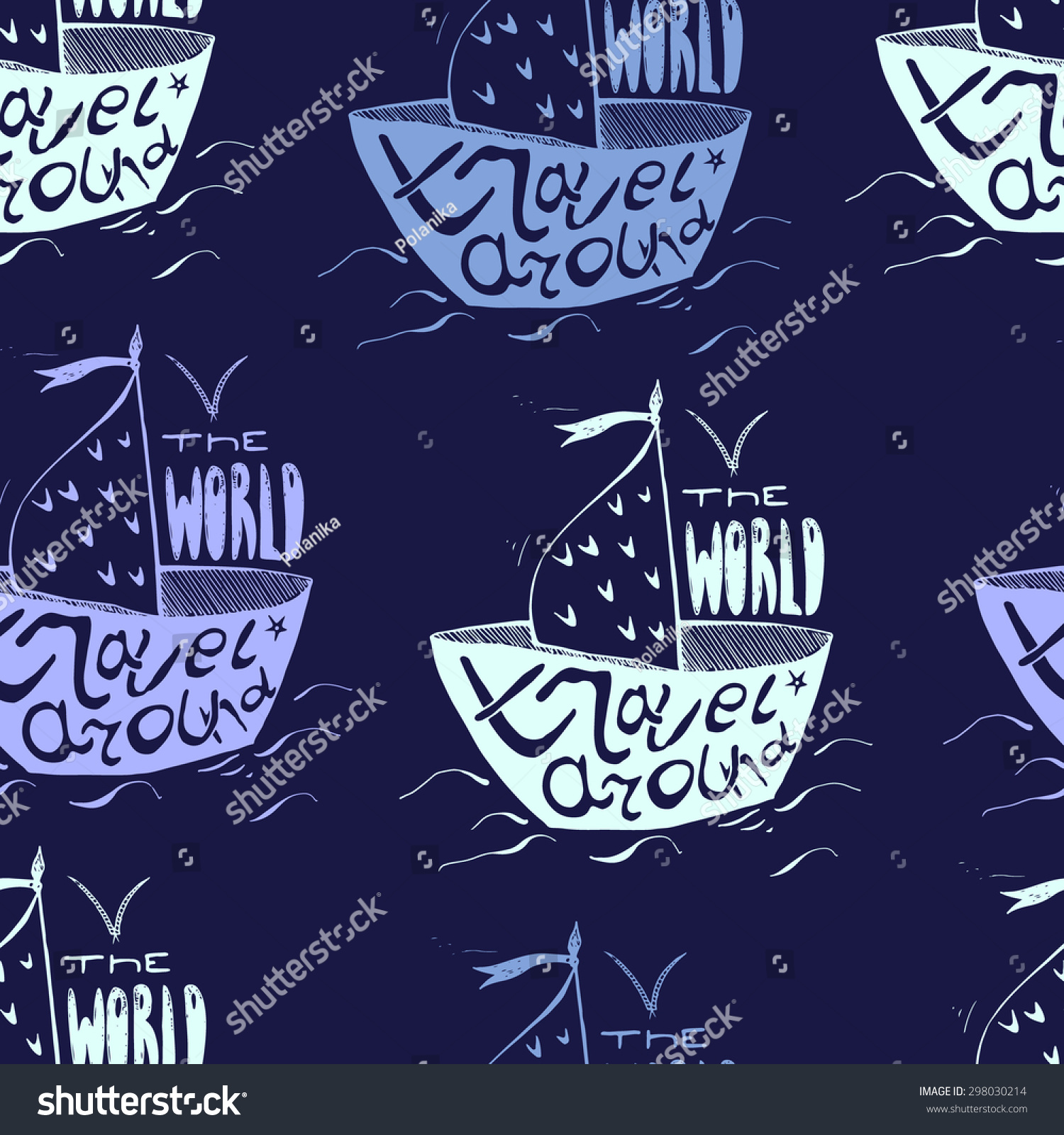Seamless Pattern Cute Hand Drawn Boat Stock Vector