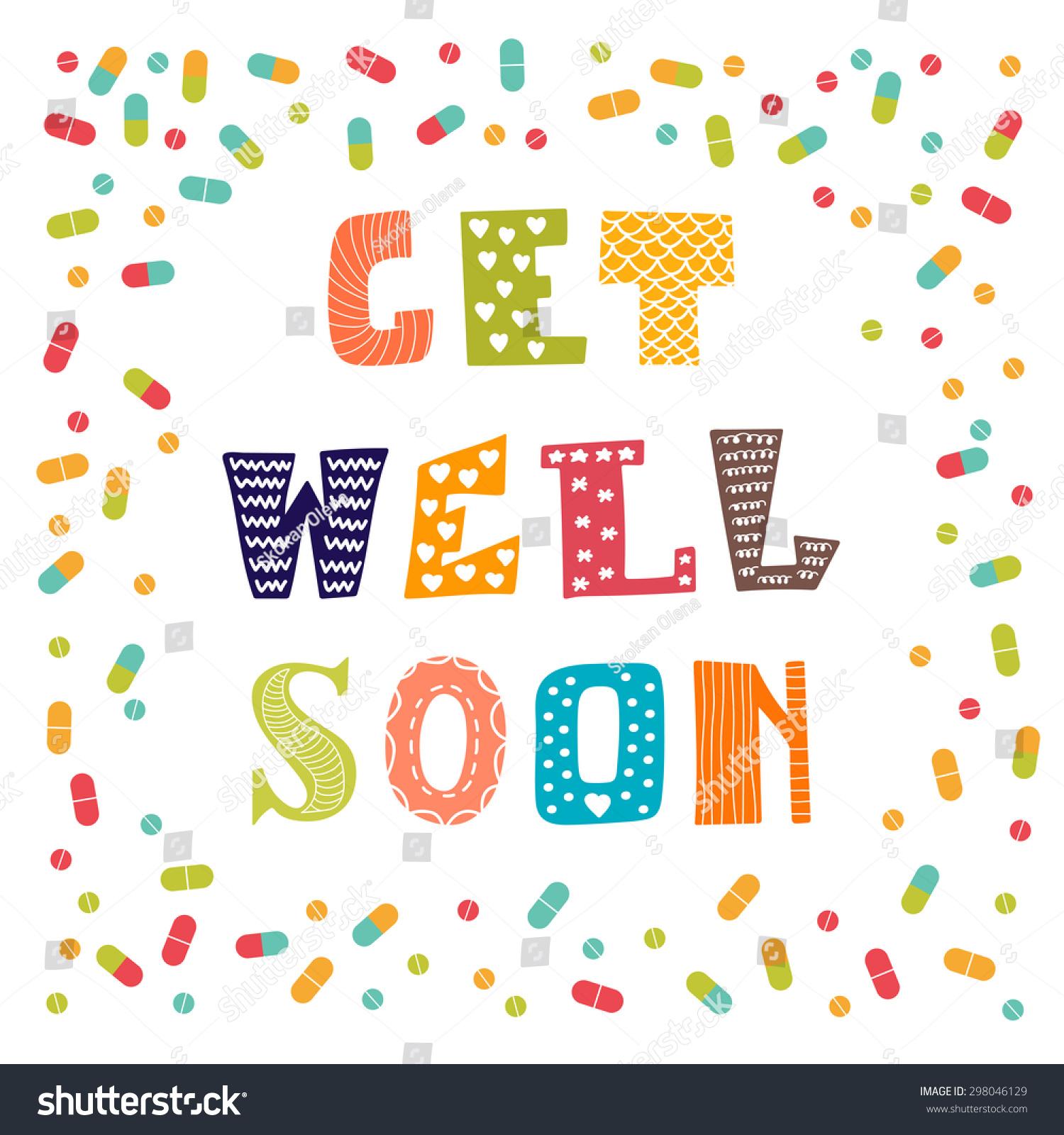 Get well soon card pills greeting stock vector 298046129 get well soon card with pills greeting card vector illustration kristyandbryce Gallery