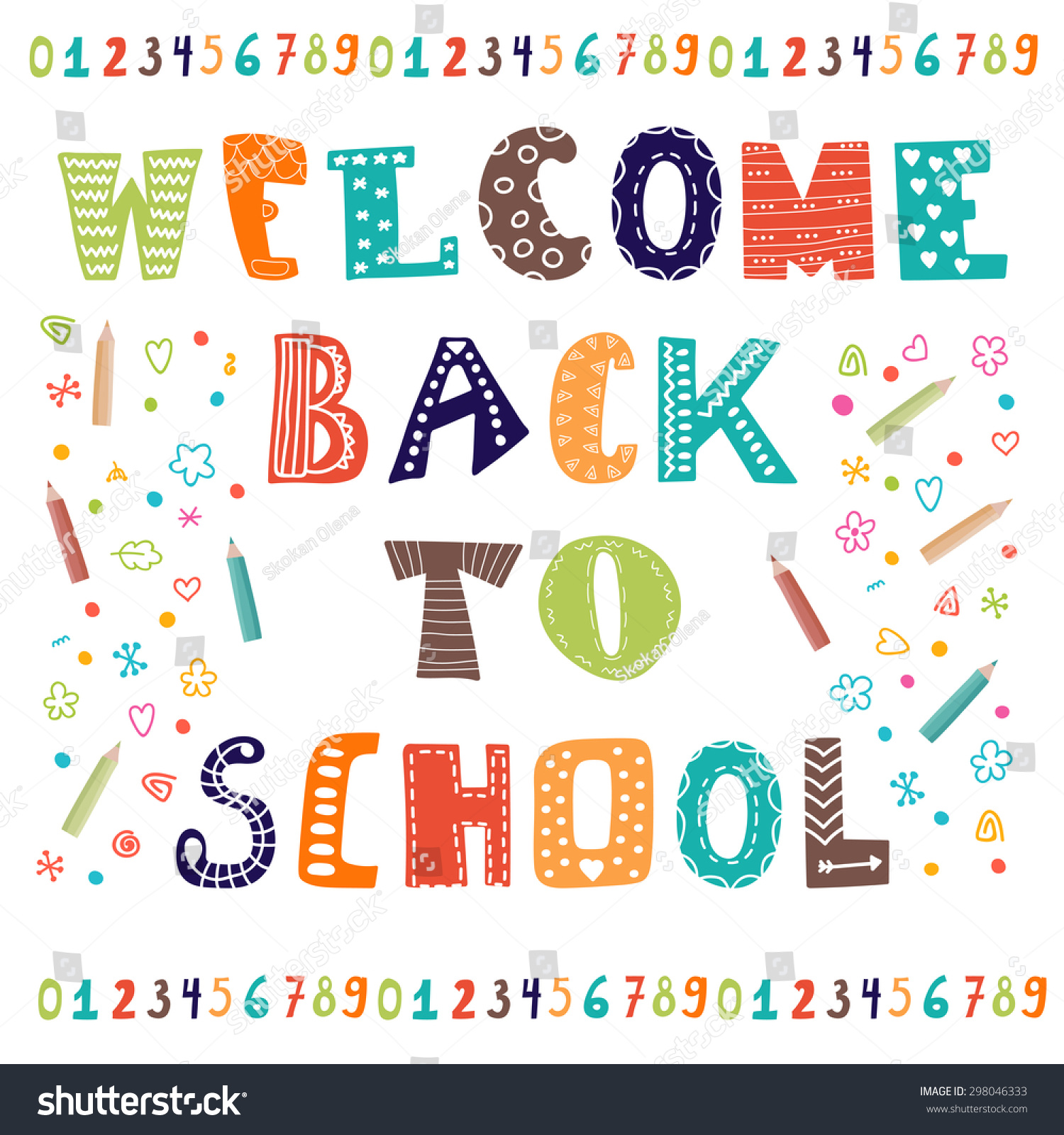 welcome back school greeting card back stock vector 298046333 shutterstock. Black Bedroom Furniture Sets. Home Design Ideas