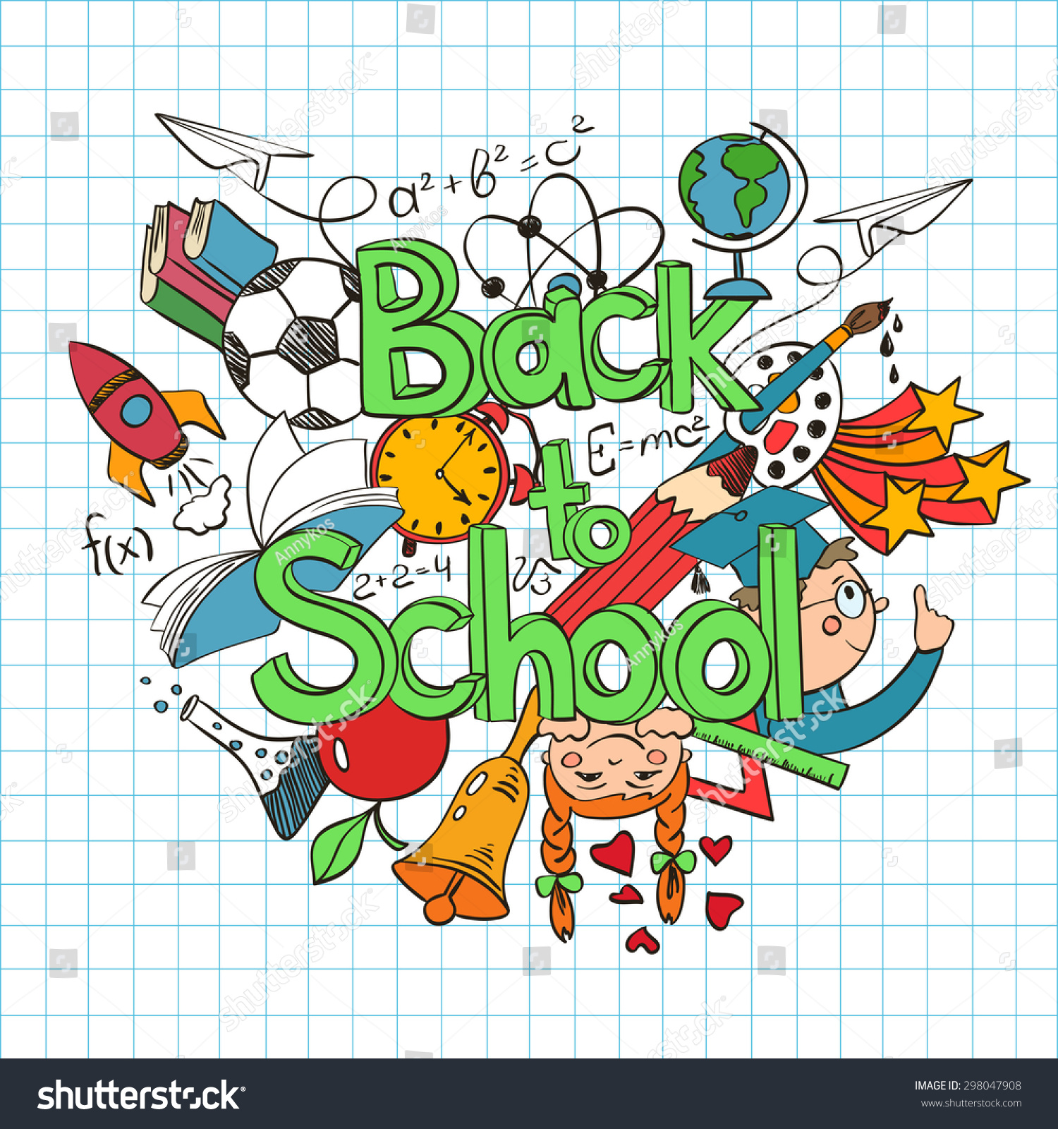 Hand Drawn Colorful Sketch Back School Stock Vector 298047908 ...