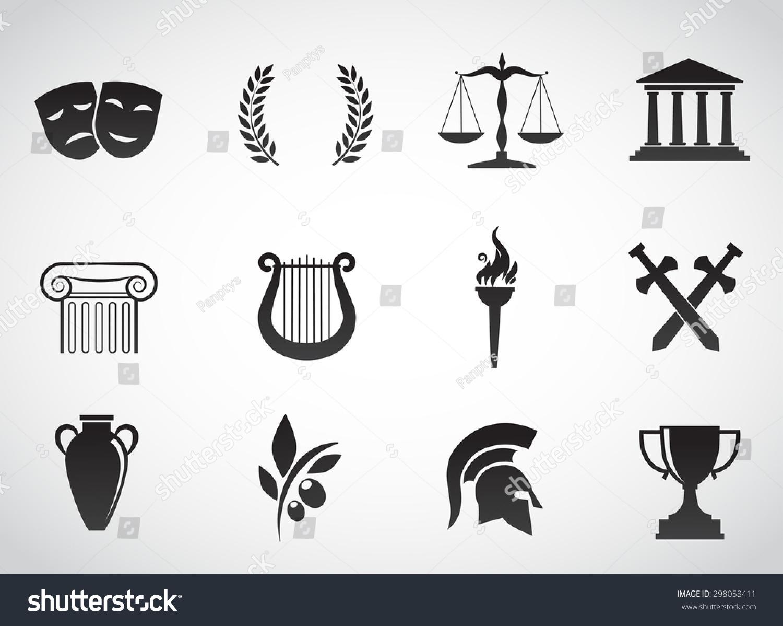 Ancient greek civilization art culture vector stock vector ancient greek civilization art and culture vector icon set biocorpaavc