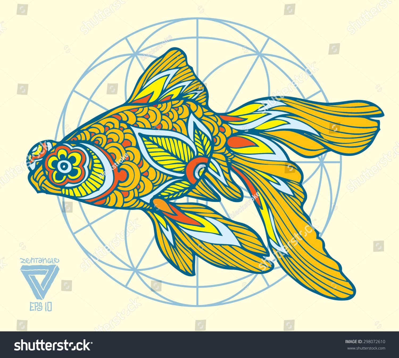 Zentangle Vector Goldfish Stock Vector 298072610 - Shutterstock