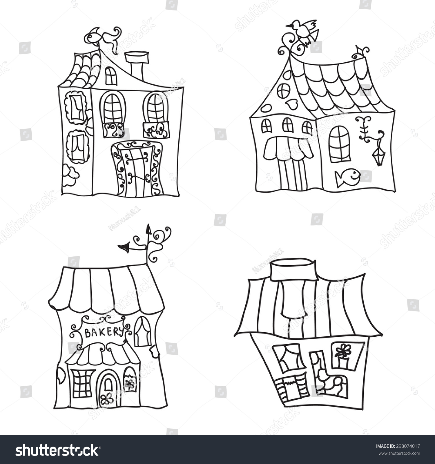 Houses Coloring Page Stock Vector 298074017