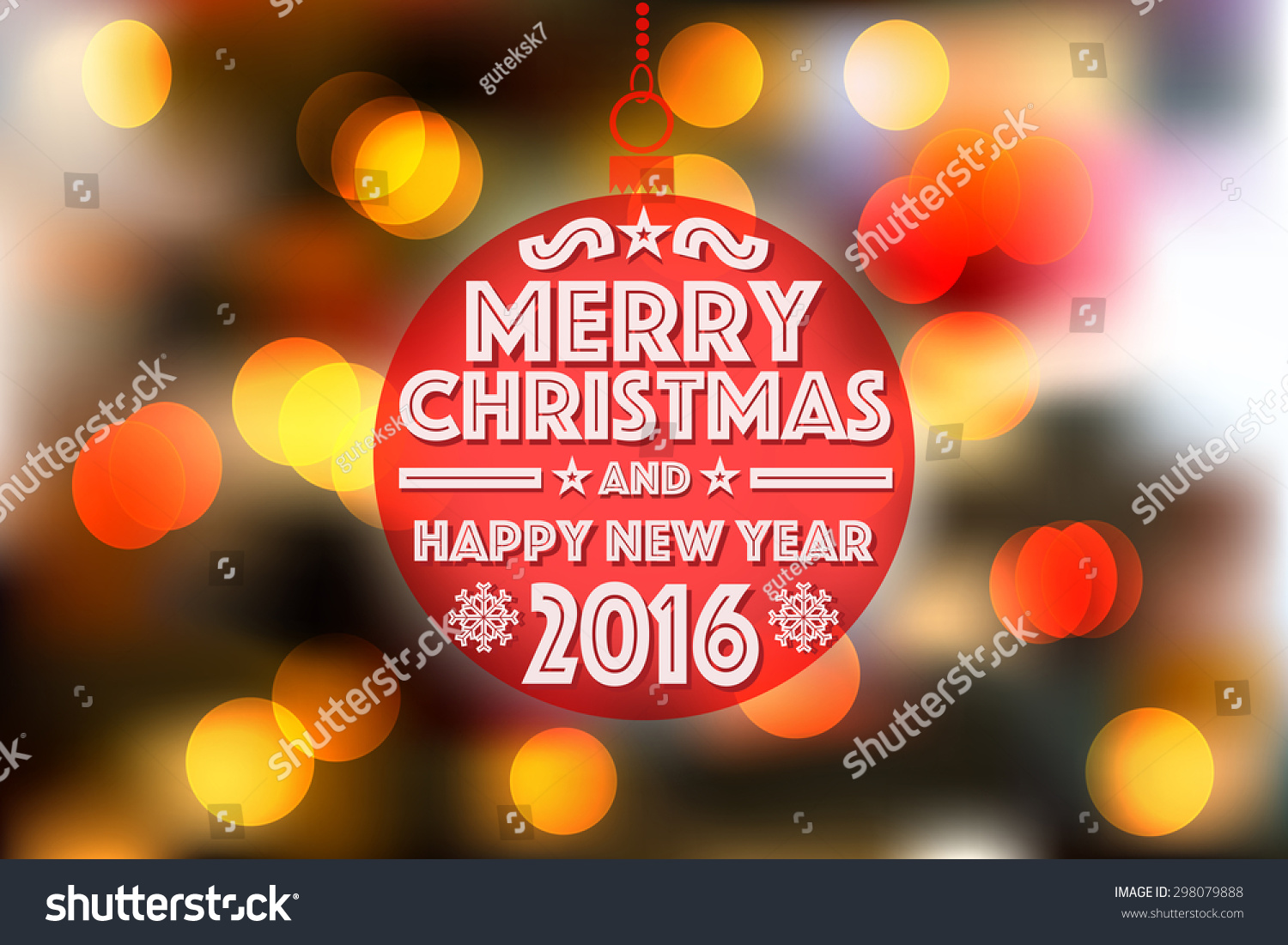 Christmas Bauble Against Bokeh Background Merry Stock Vector