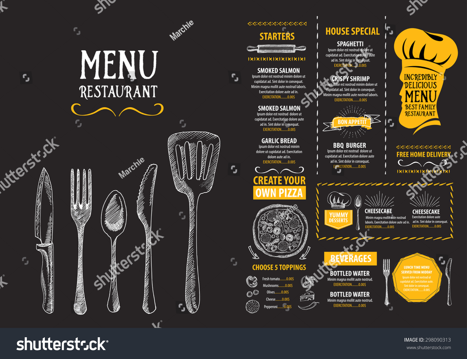 restaurant cafe menu template design food stock vector royalty free