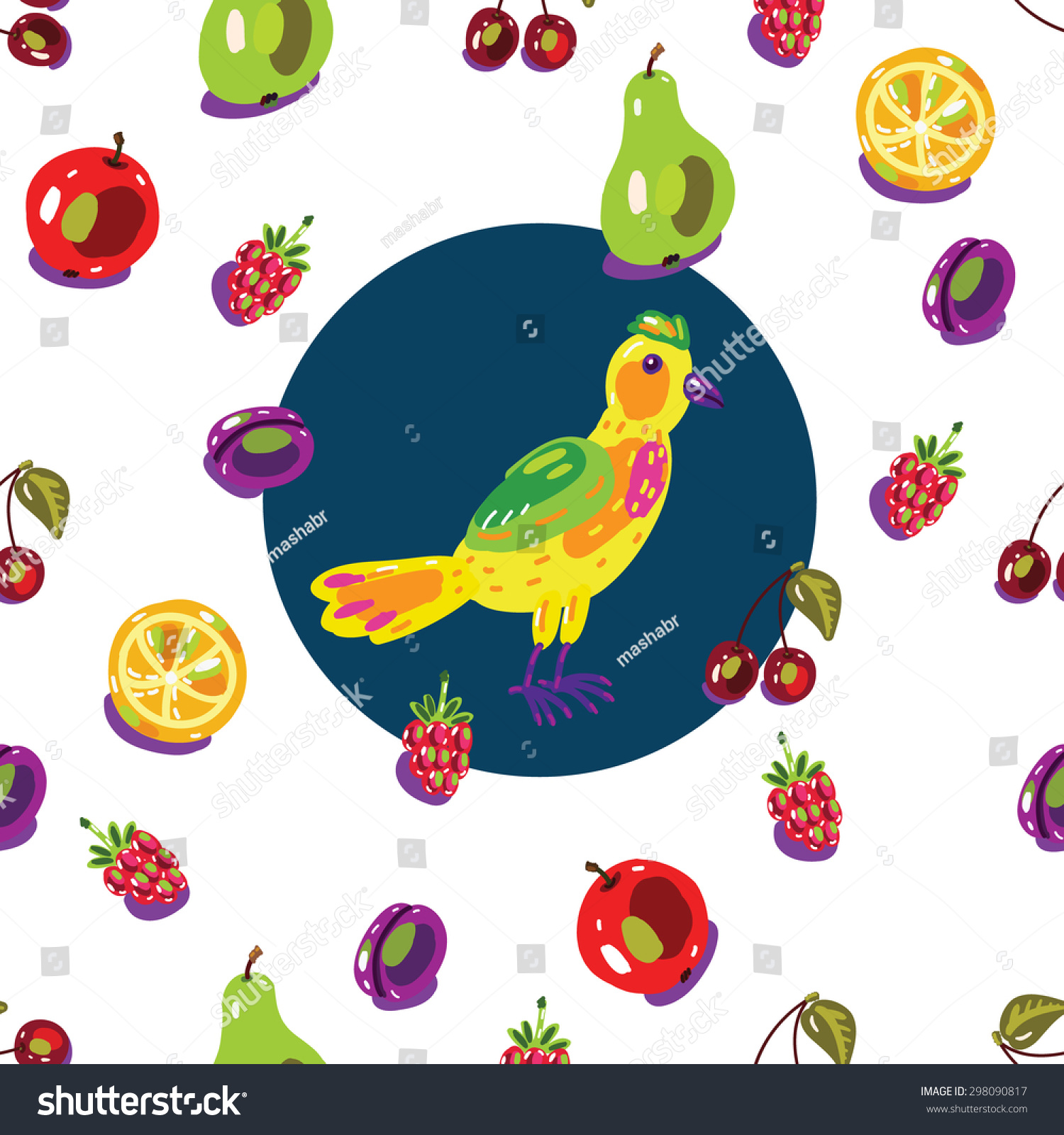 garden fruits birds background seamless pattern stock vector