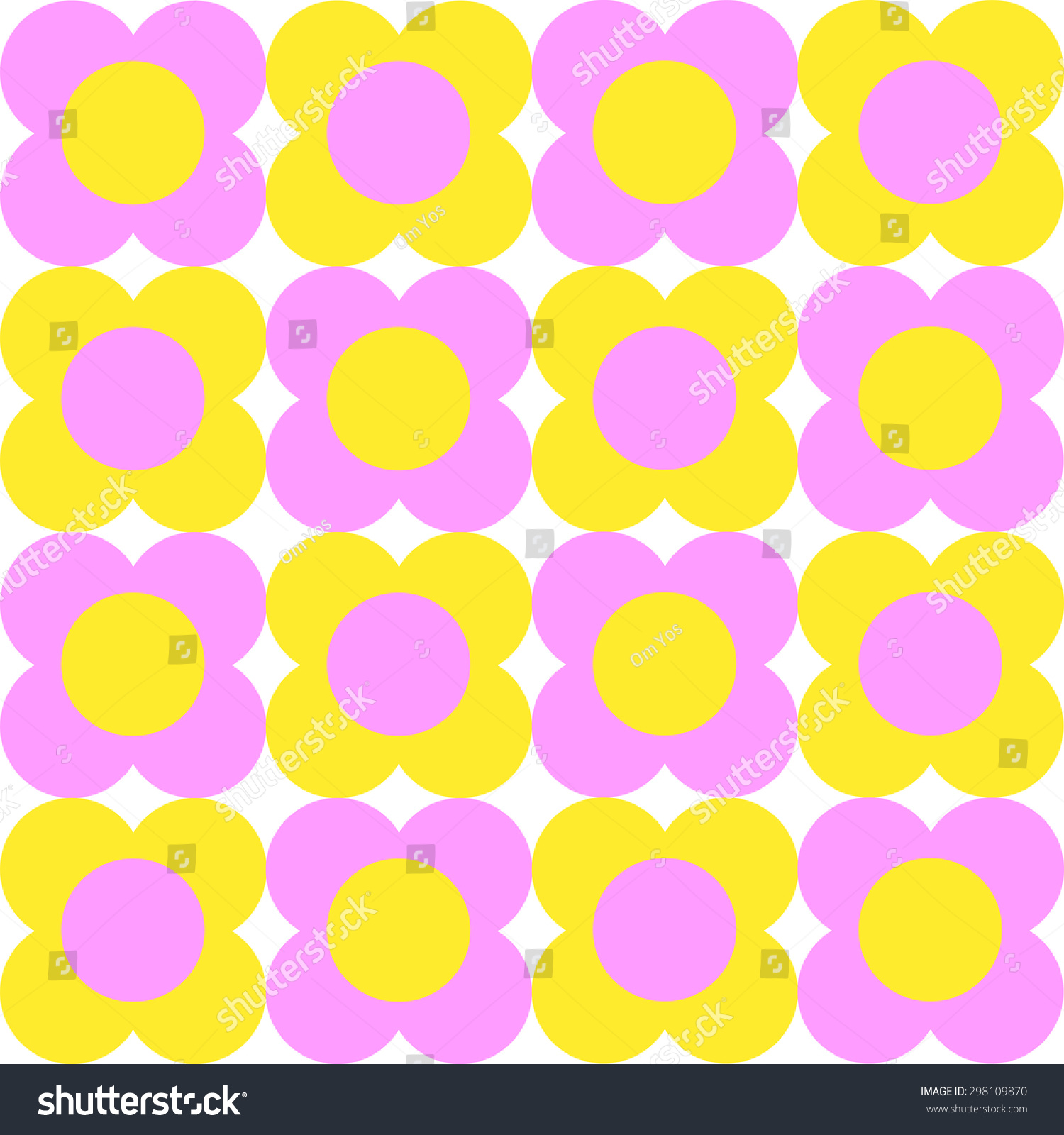 seamless background pink yellow flower stock vector